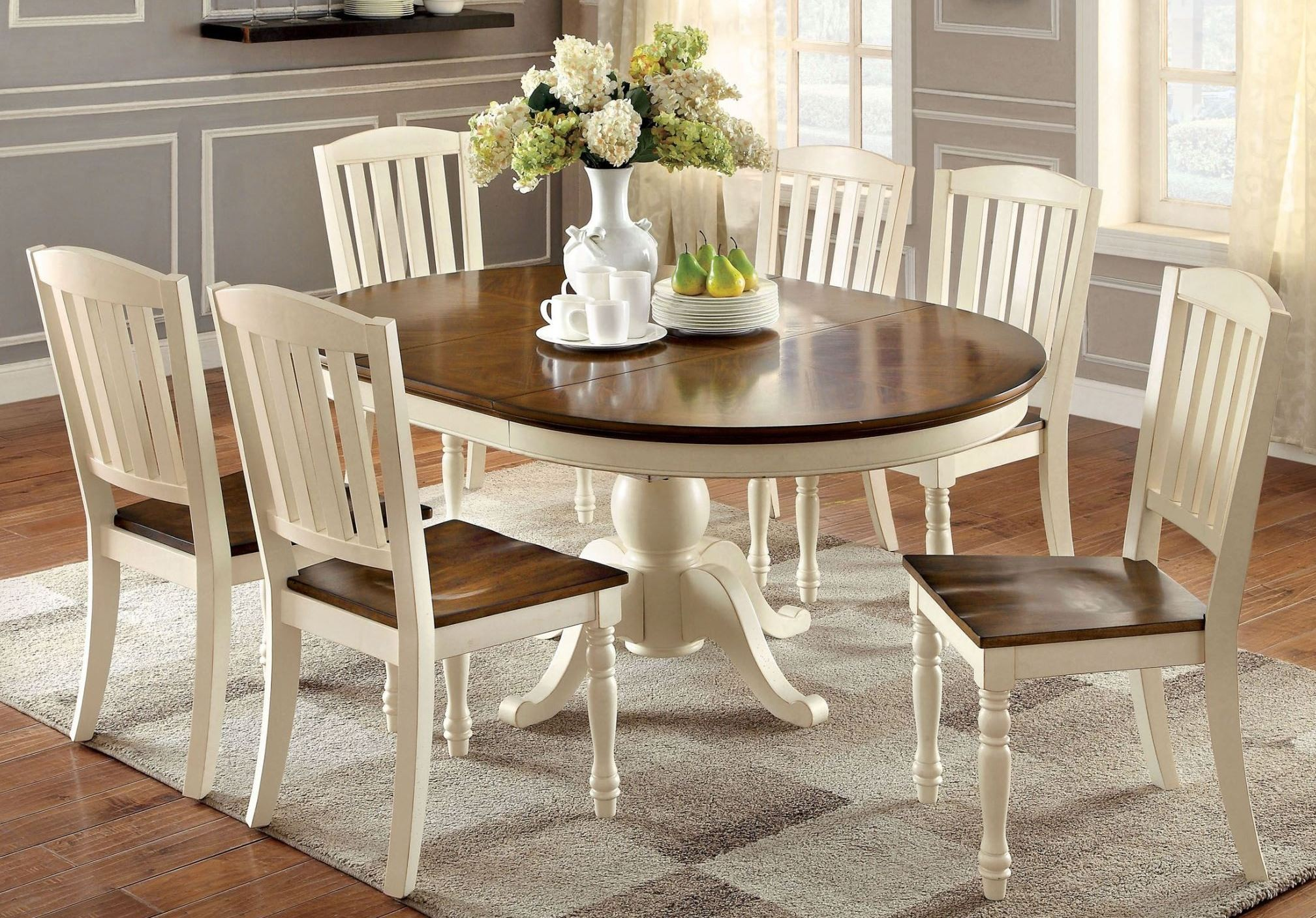 White oval dining