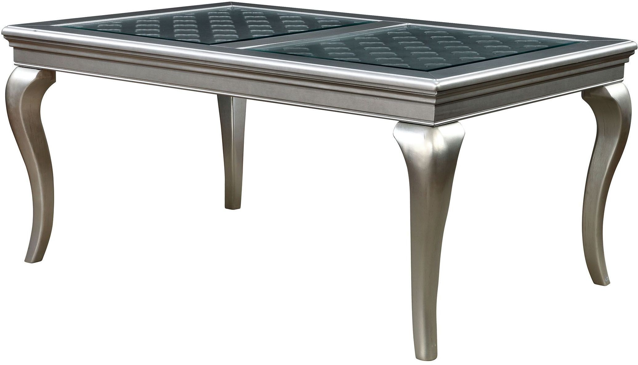 Amina champagne 66 rectangular dining table from for Furniture of america customer service
