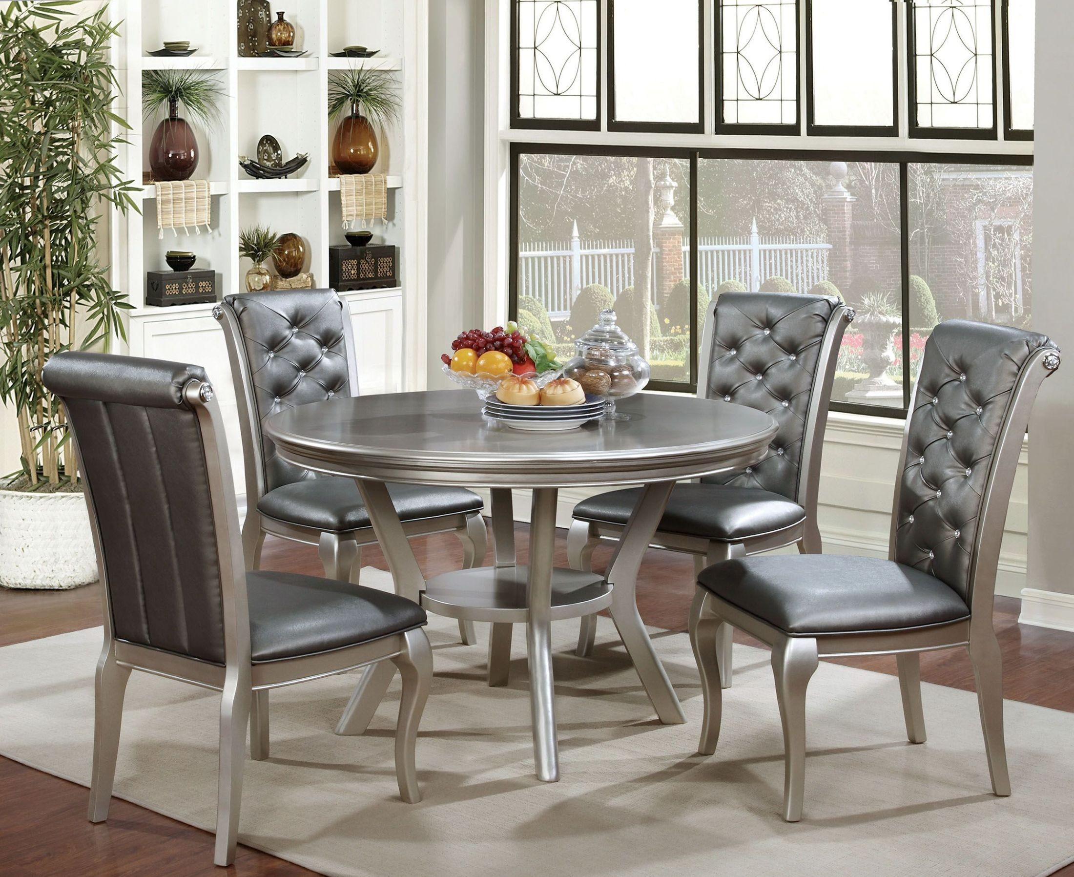 amina champagne round dining room set from furniture of america 1914004