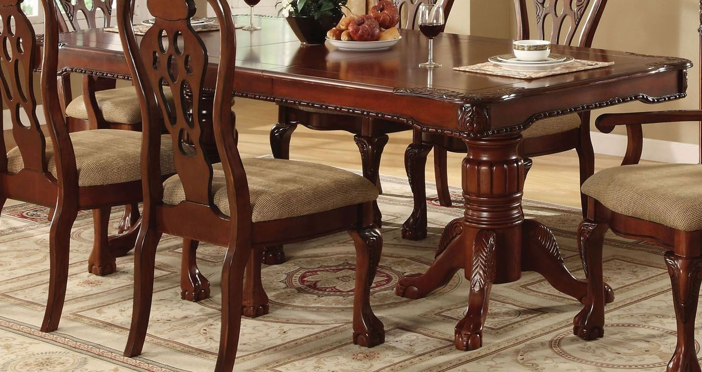 George town rectangular double pedestal formal dining table from furniture of america cm3222t - Rectangle pedestal dining table ...