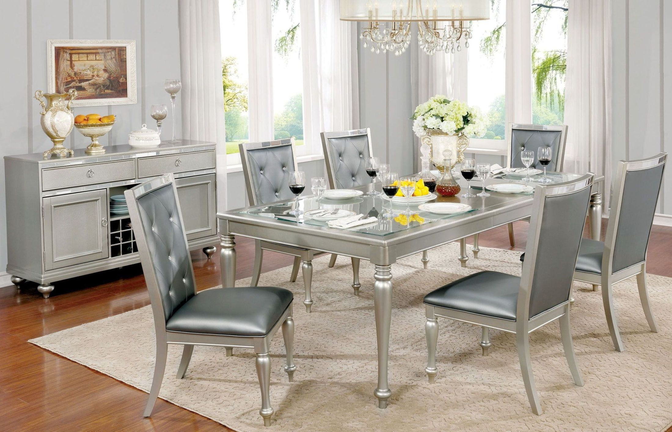sarina silver extendable rectangular leg dining room set from furniture of america coleman. Black Bedroom Furniture Sets. Home Design Ideas