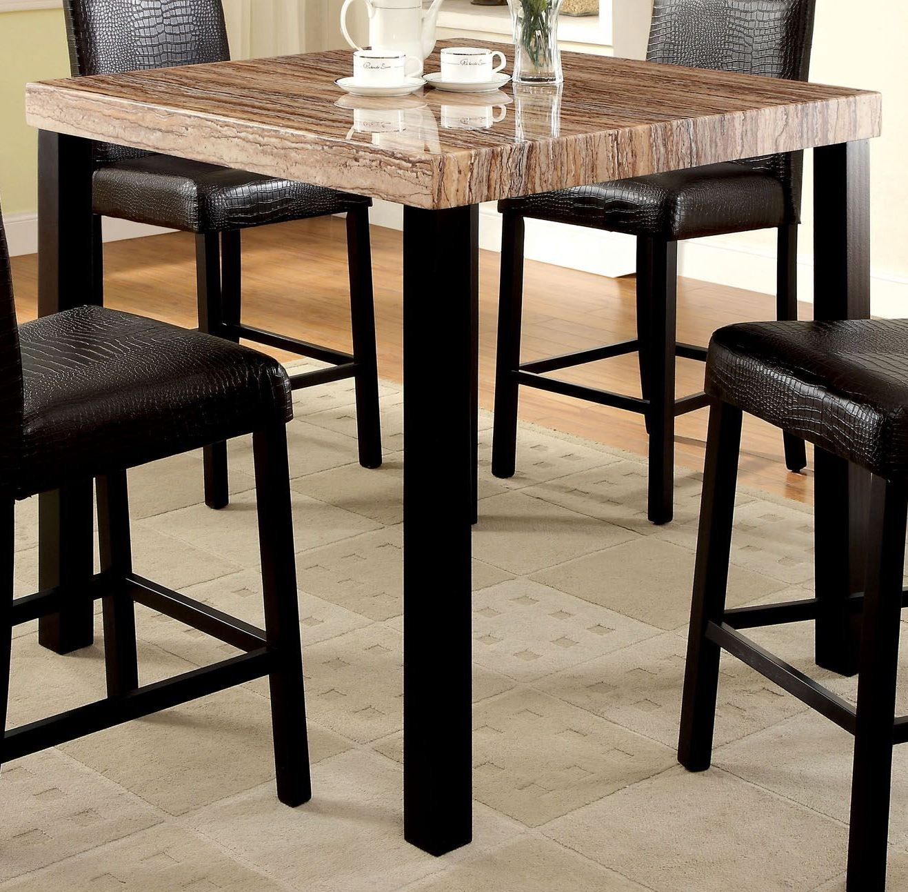 Rockham ii black faux marble top square counter height leg for Table bar 6 personnes