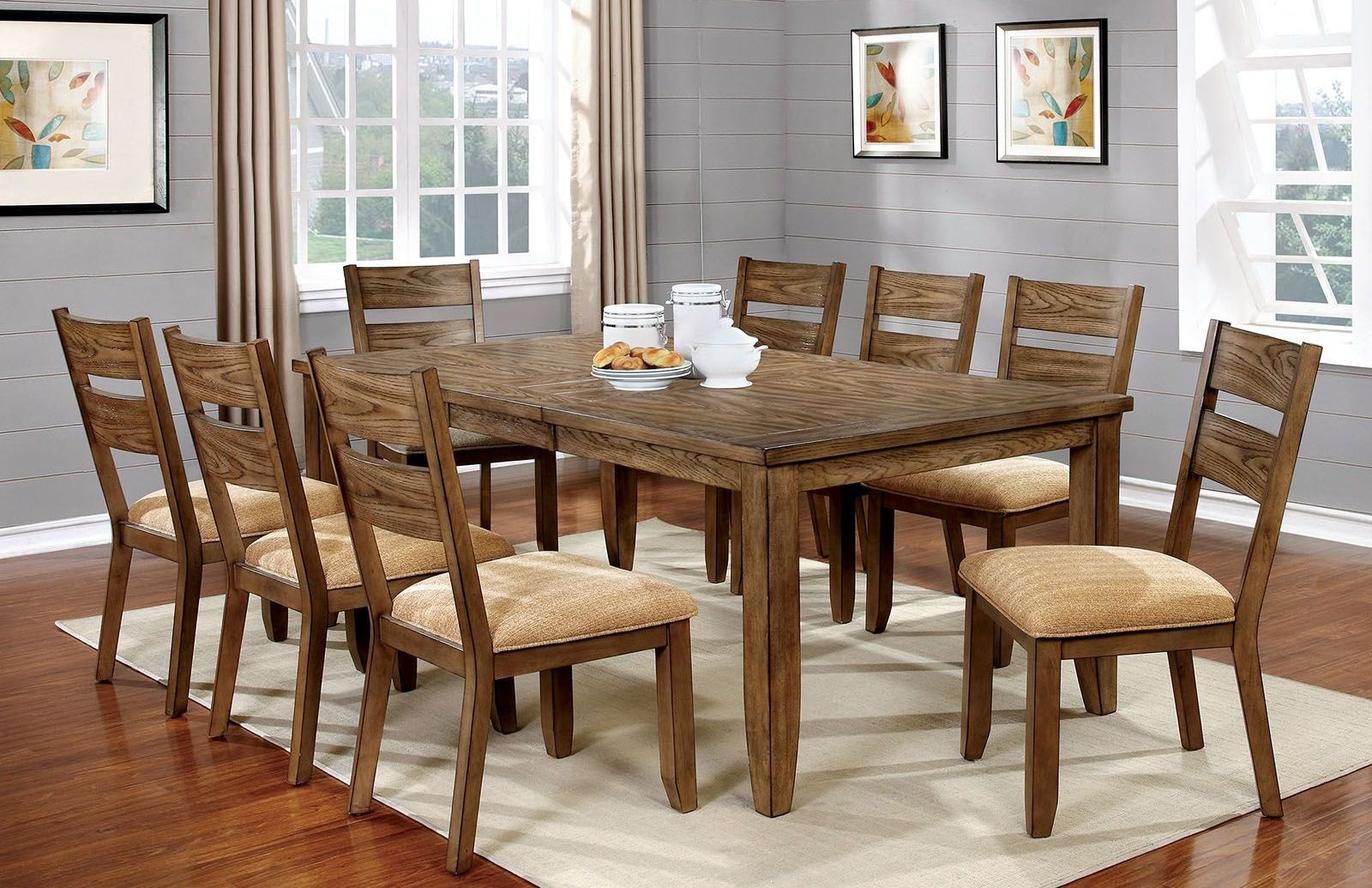 Ava light oak dining room set from furniture of america for Oak dining room set