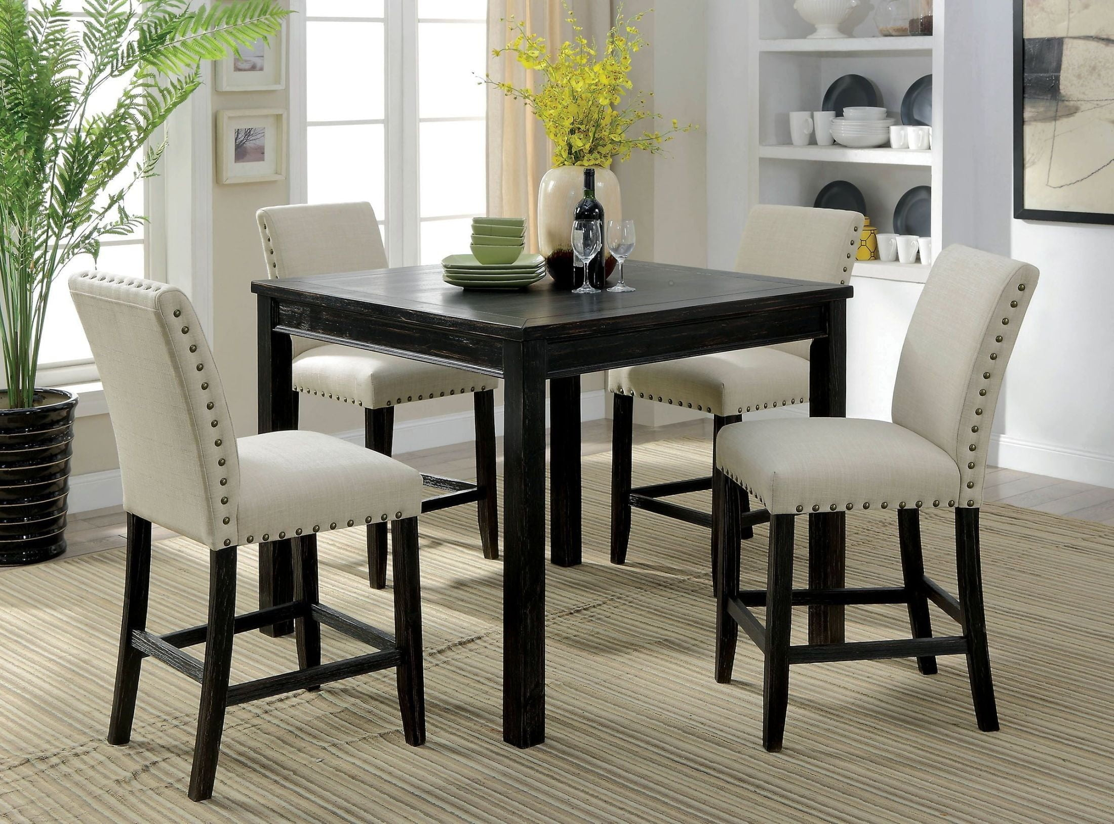 kristie antique black counter height dining table set from furniture of america coleman furniture. Black Bedroom Furniture Sets. Home Design Ideas