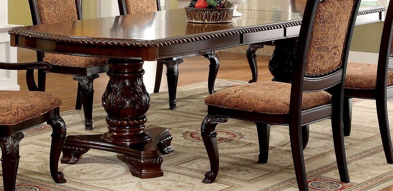 bellagio brown cherry rectangular extendable pedestal dining table from furniture of america. Black Bedroom Furniture Sets. Home Design Ideas