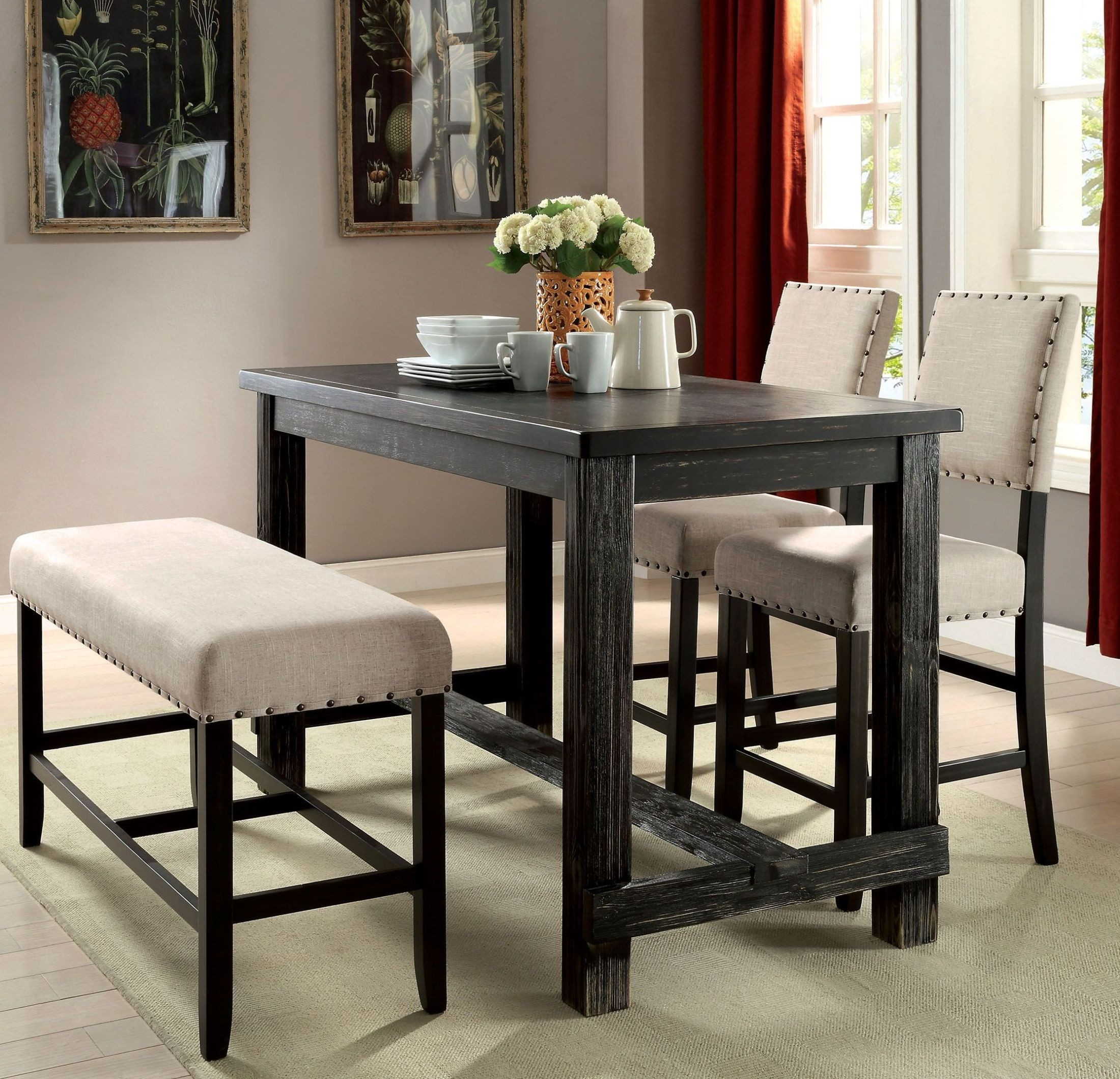 Sania Ii Antique Black Counter Height Dining Table ...