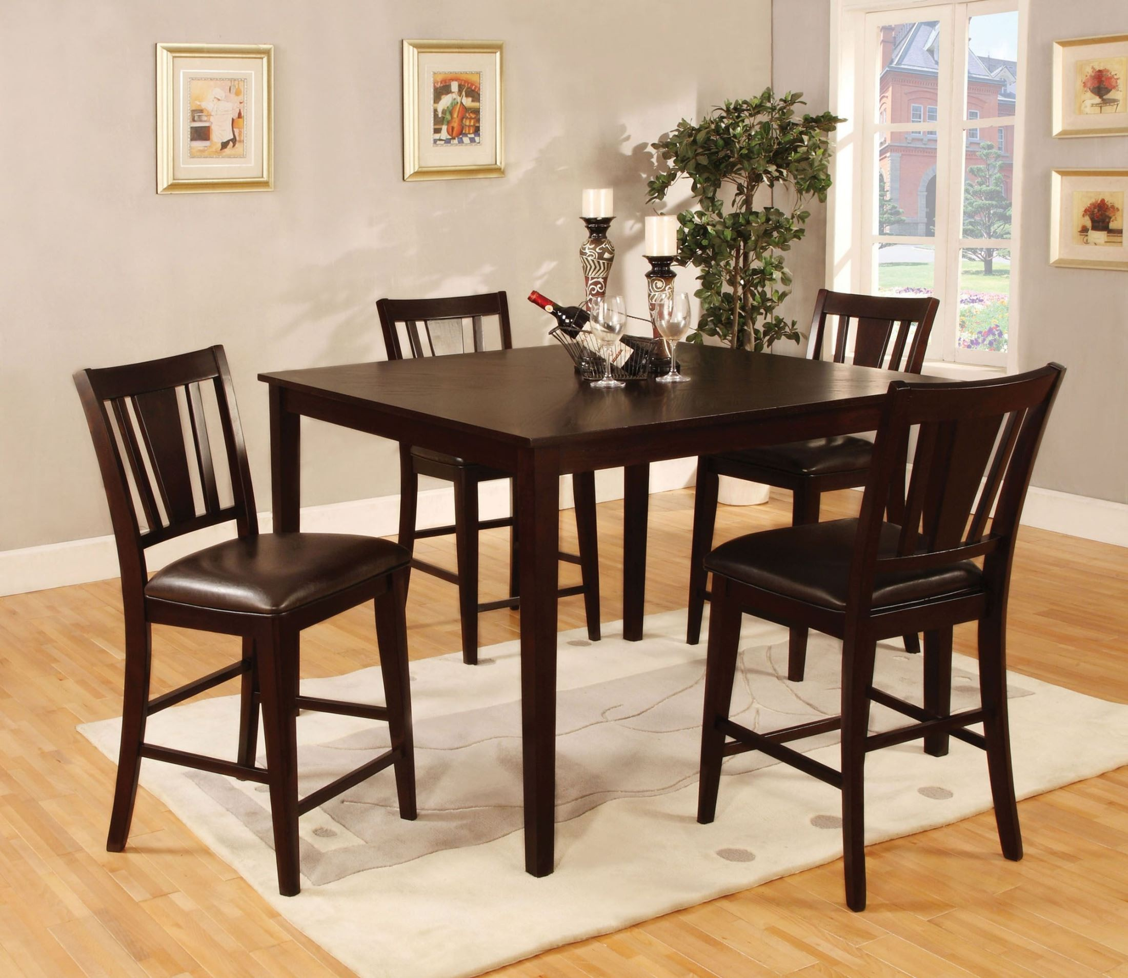 Bar Table Chairs Set Crown Mark Alyssa 3 Piece Bar Table: Bridgette II 5 Piece Square Counter Height Table Set From