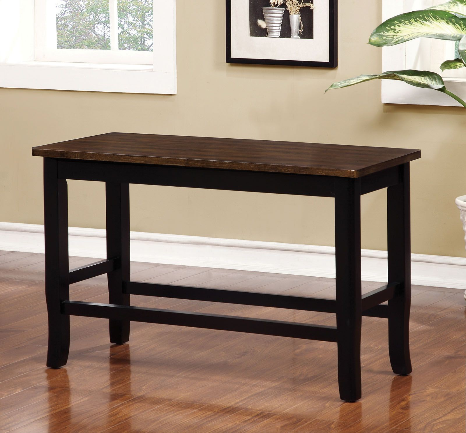 Dover Ii Black And Cherry Counter Height Bench From Furniture Of America Coleman Furniture