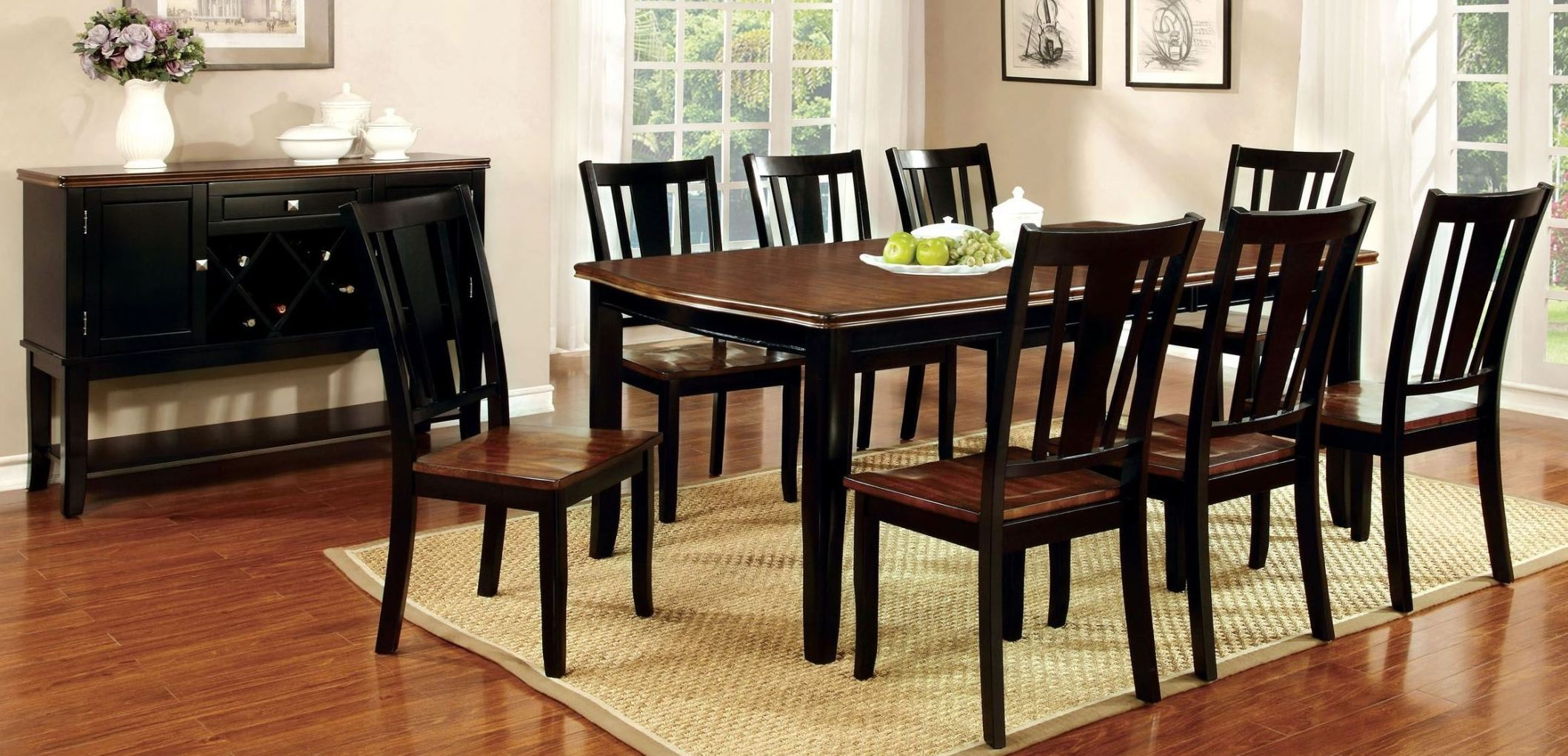 Dover black and cherry rectangular extendable leg dining for Dining room t