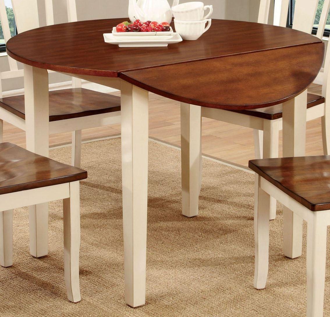 dover ii vintage white and cherry drop leaf round dining. Black Bedroom Furniture Sets. Home Design Ideas