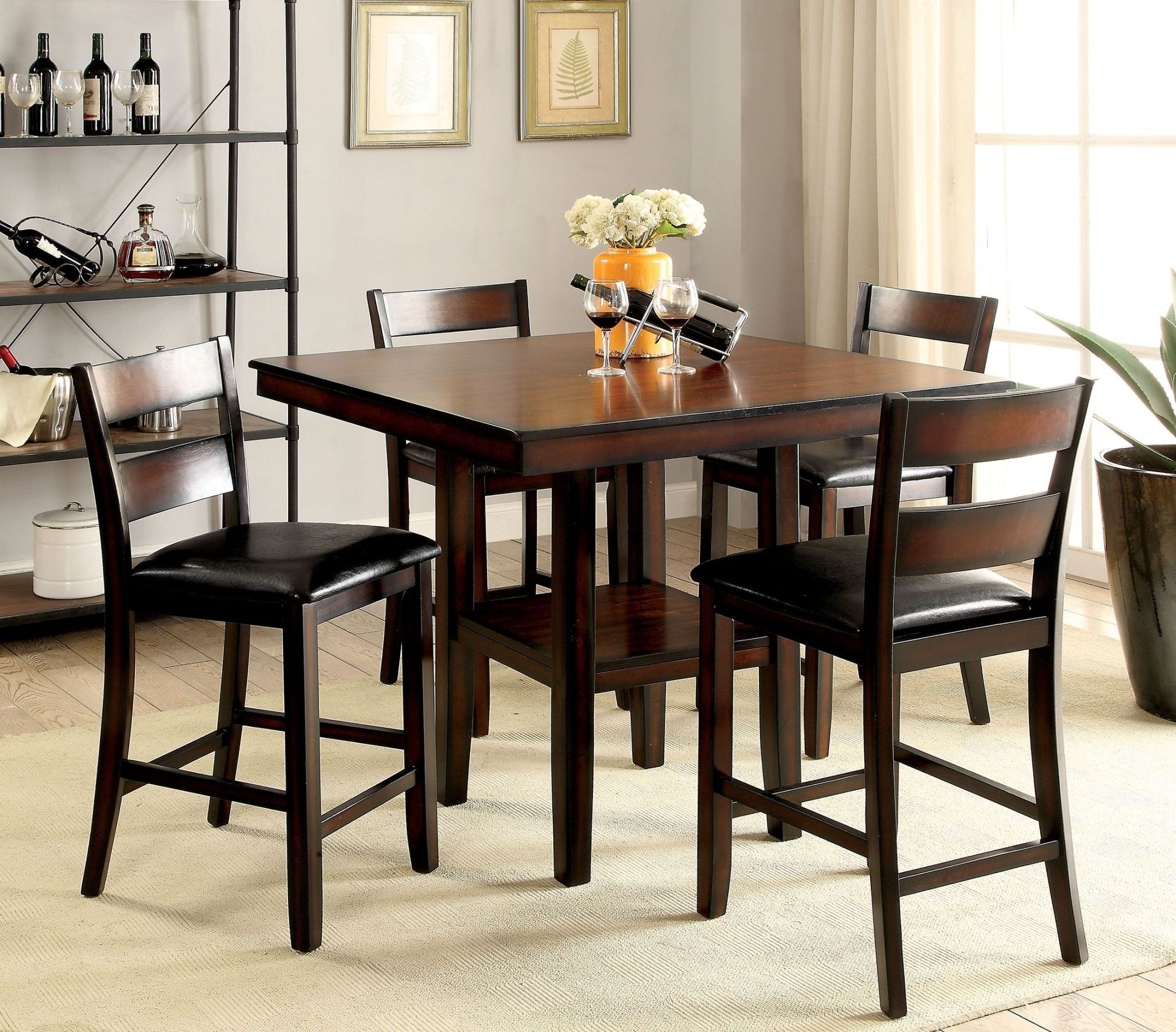 Brown Traditional 5 Piece Round Dining Set Cally: Norah II Brown Cherry 5 Piece Counter Height Dining Set