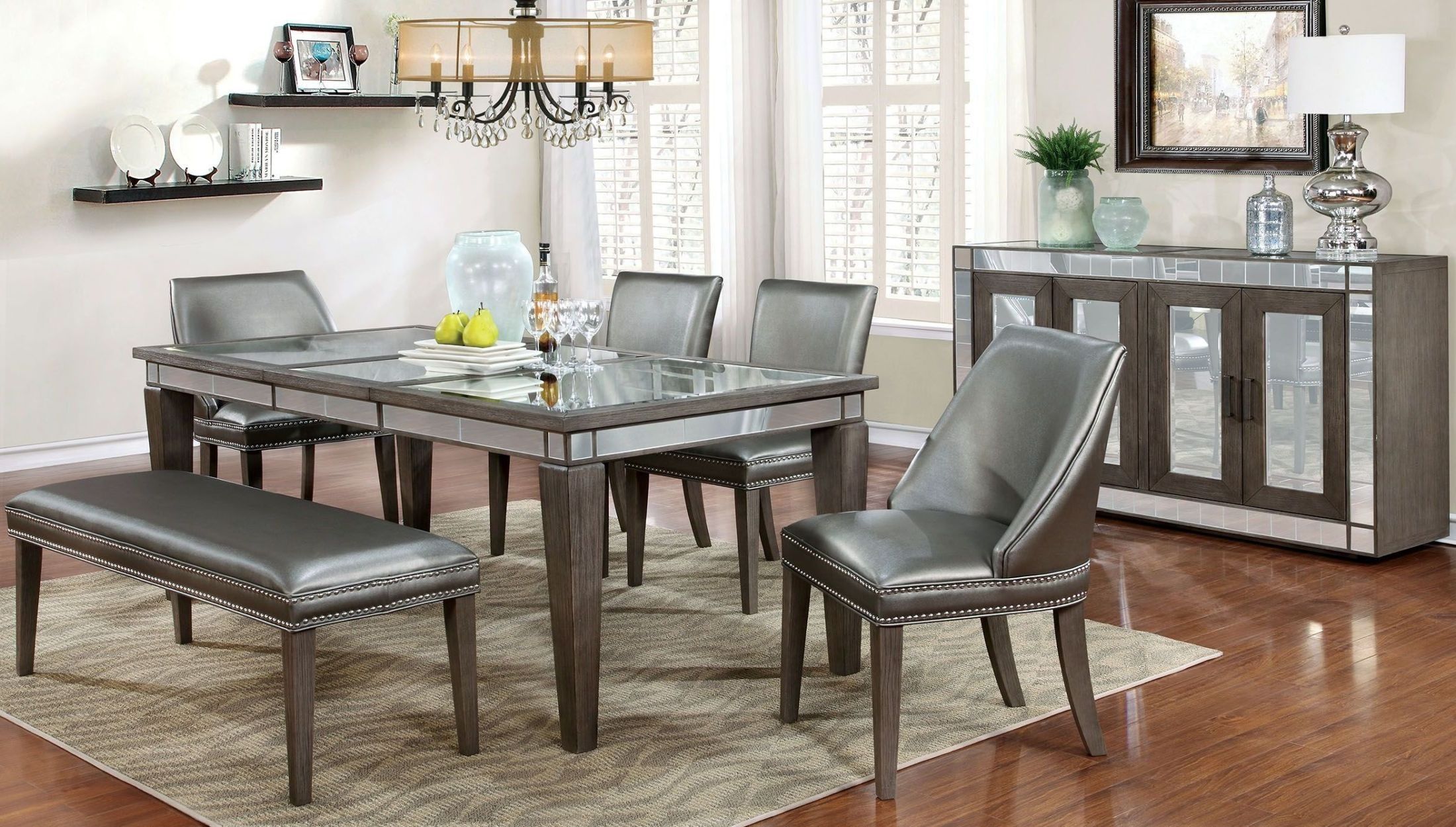 Sturgis Dark Gray Extendable Rectangular Dining Table From