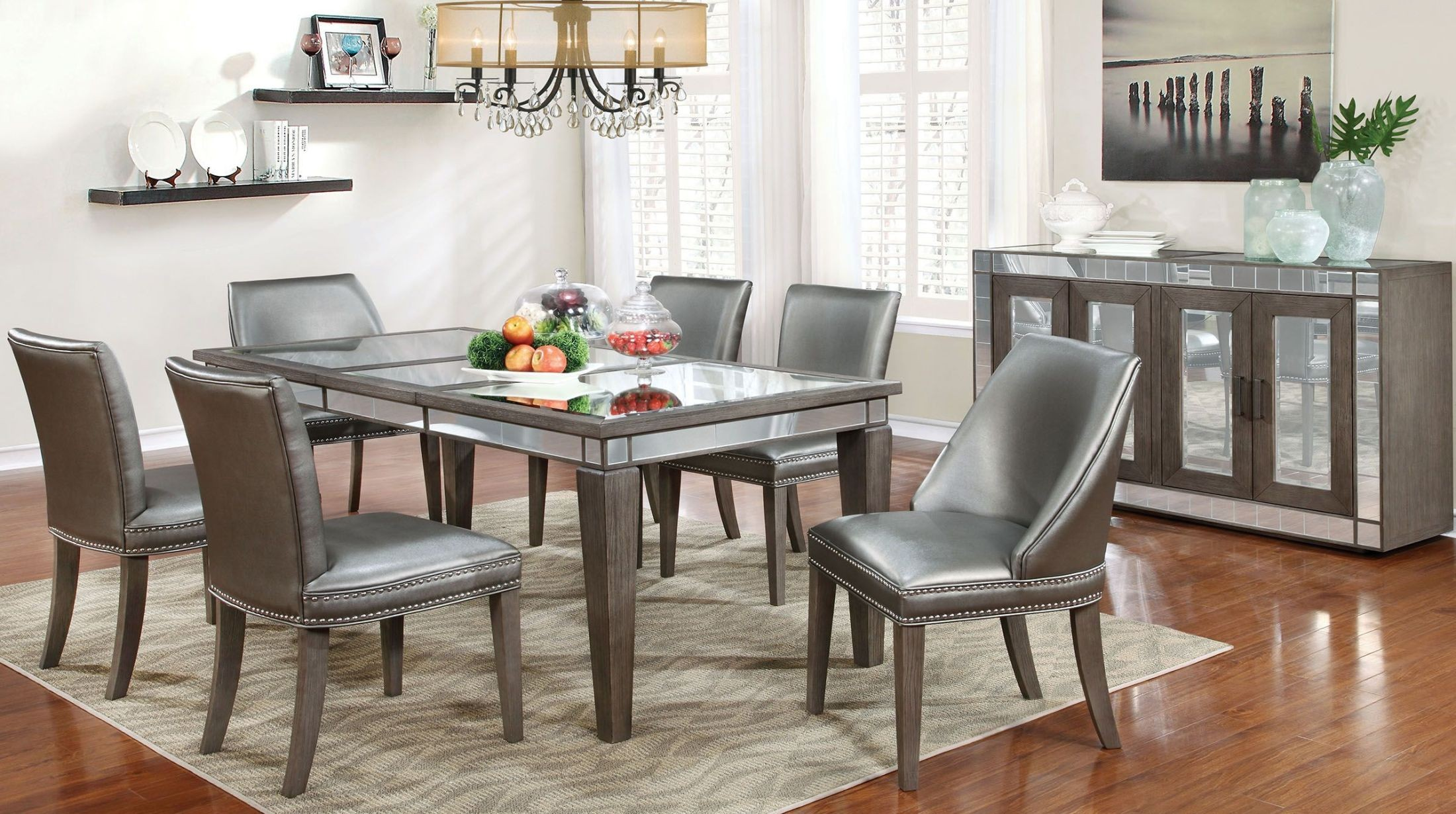 Sturgis dark gray extendable rectangular dining room set for Dark grey dining room