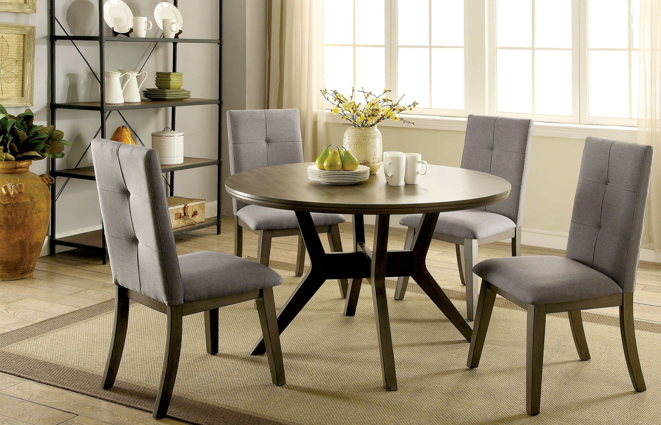 Grey Dining Room Table Sets: Abelone Gray Round Dining Room Set From Furniture Of