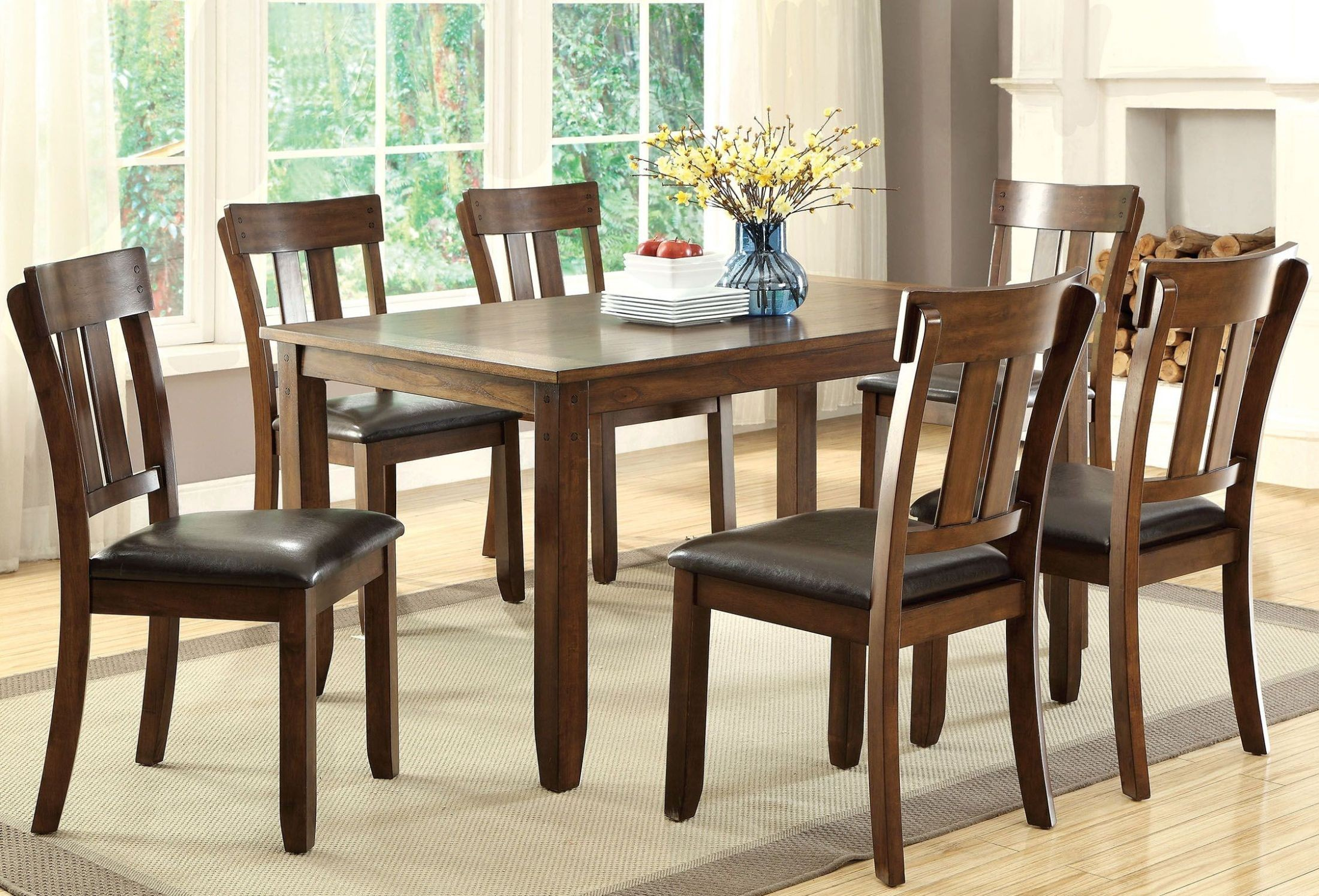 Brockton I Rustic Oak Rectangular Dining Room Set CM3355T Furniture Of America