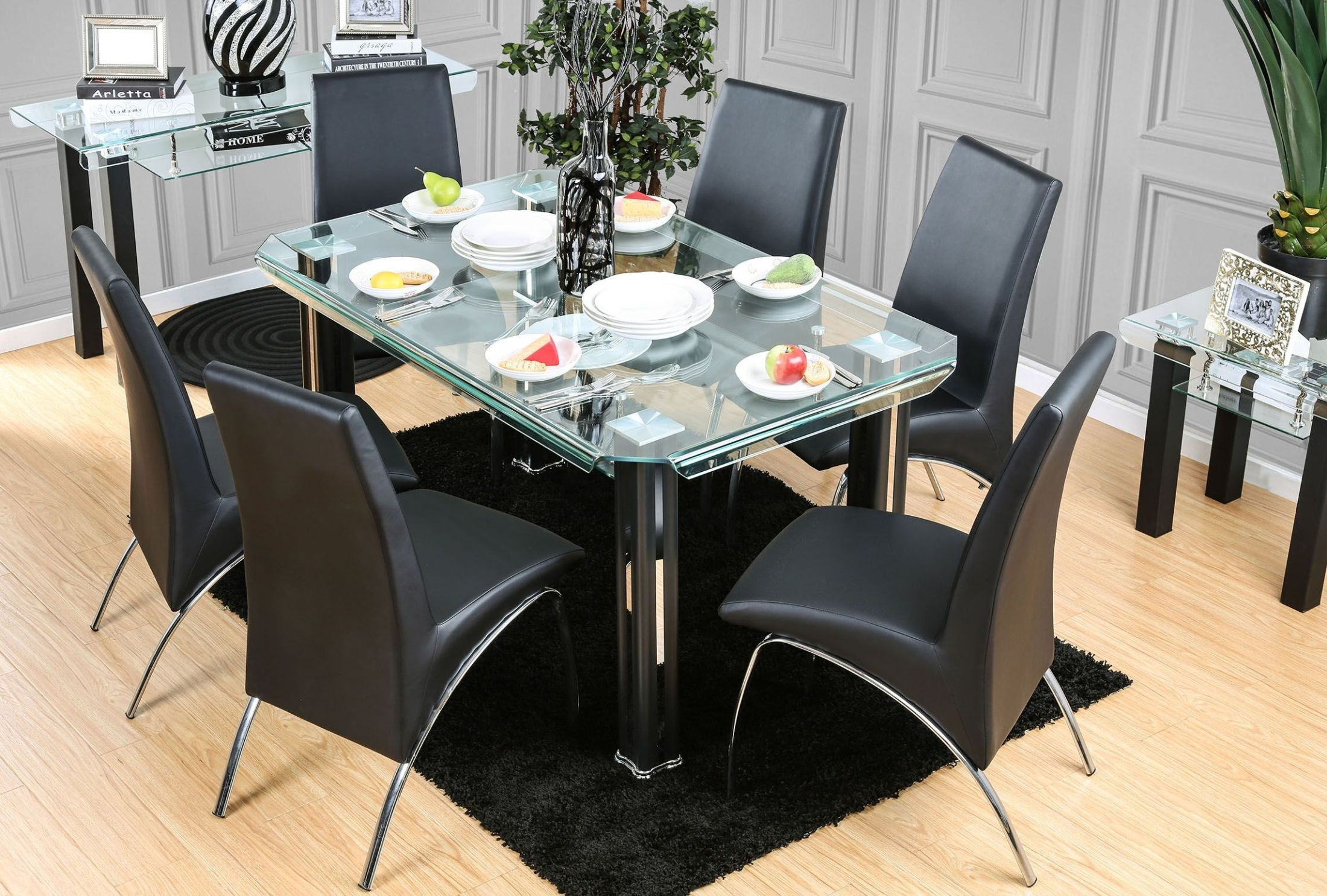 Berthold black rectangular dining room set from furniture for Dining room t