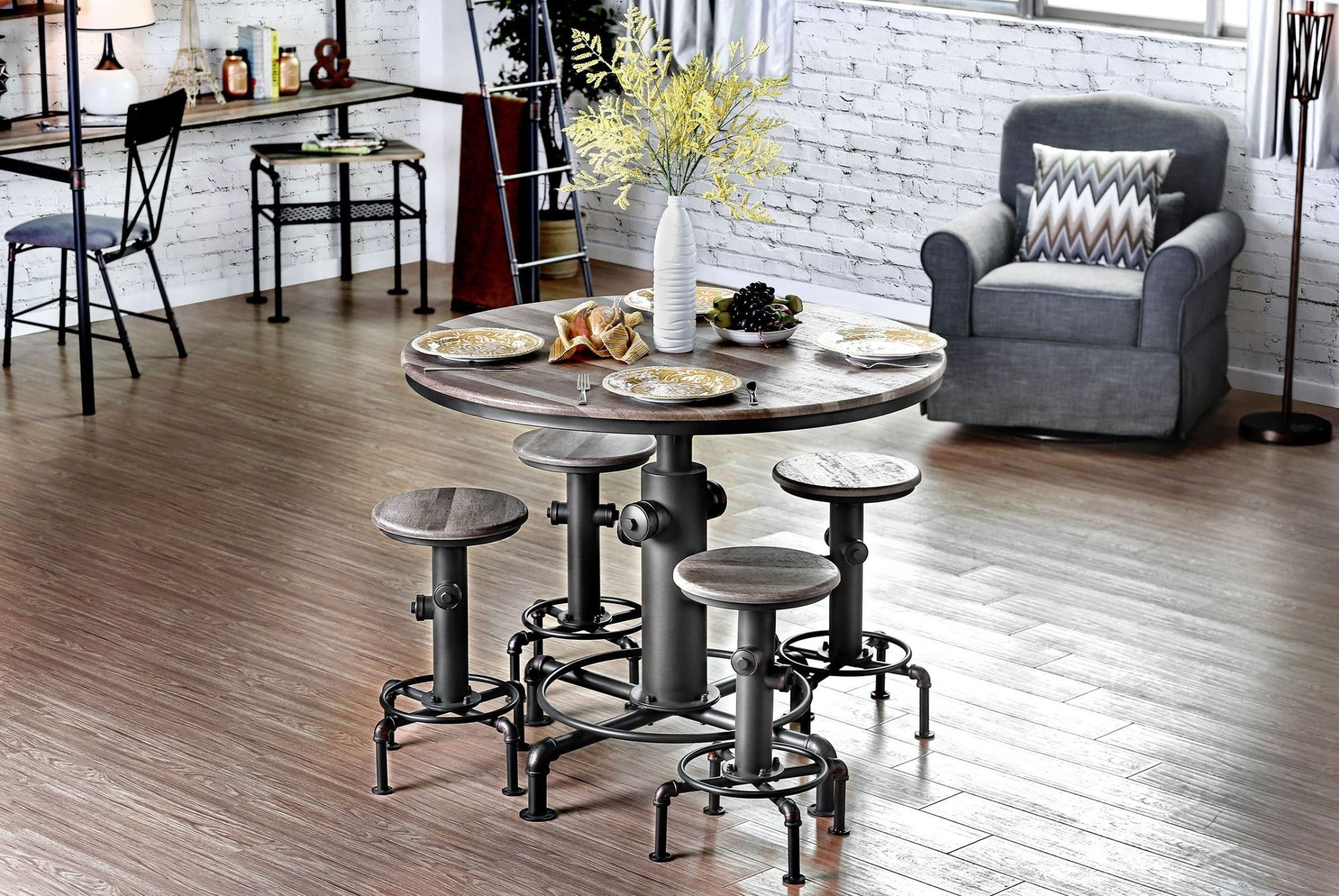 foskey antique black round counter height dining room set from furniture of america coleman. Black Bedroom Furniture Sets. Home Design Ideas