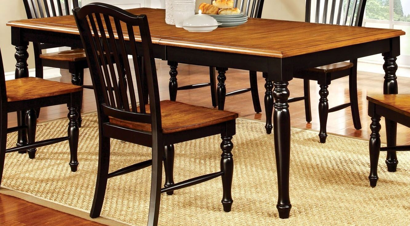 mayville black and antique oak rectangular extendable leg dining table from furniture of america. Black Bedroom Furniture Sets. Home Design Ideas