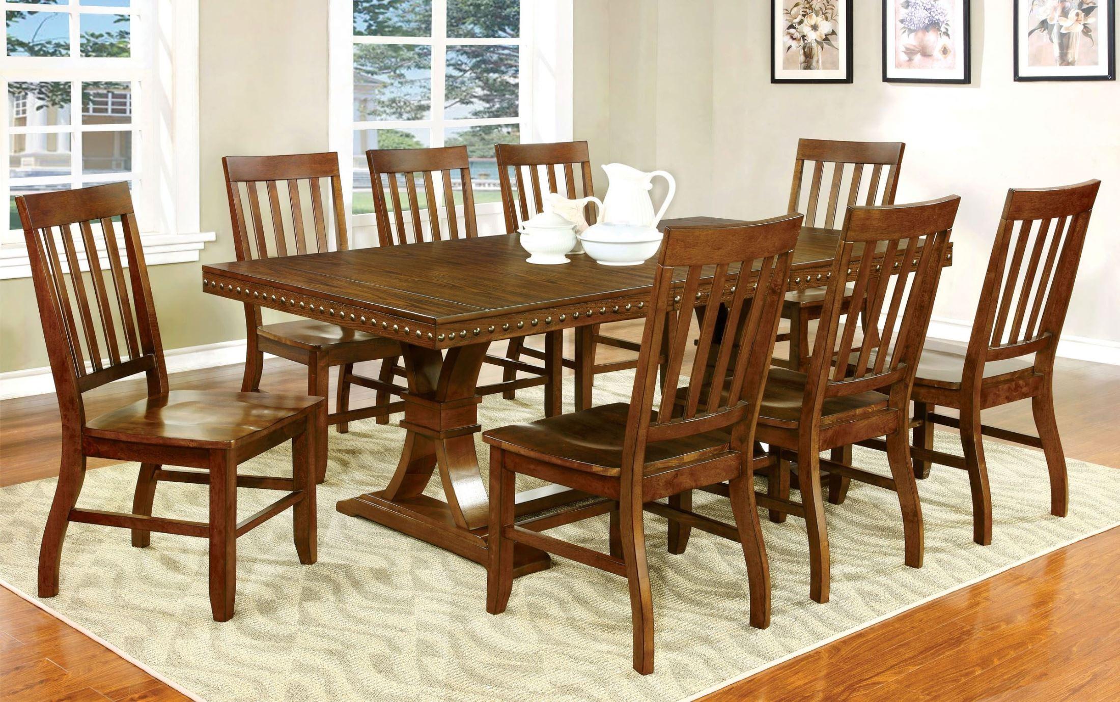 Foster i dark oak rectangular extendable trestle dining table from furniture of america cm3437t - Dark oak dining tables ...