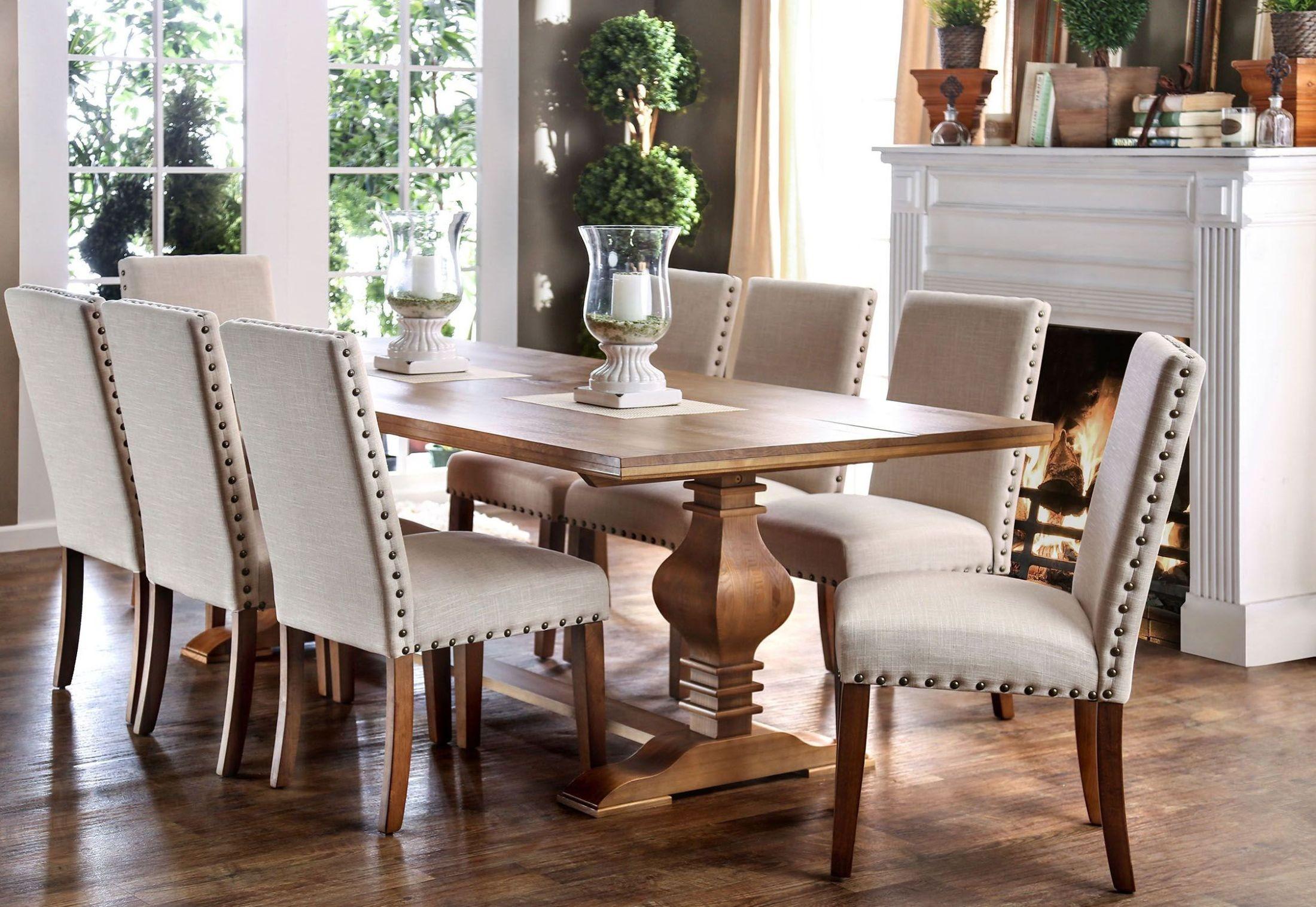 macapa oak rectangular dining room set from furniture of america coleman furniture. Black Bedroom Furniture Sets. Home Design Ideas