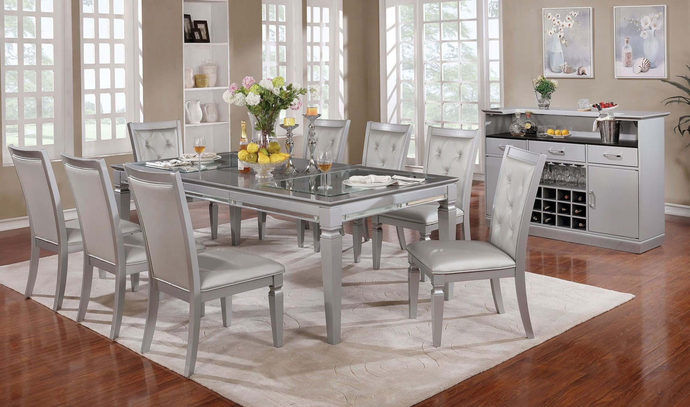 Alena Silver Dining Room Set from Furniture of America | Coleman ...
