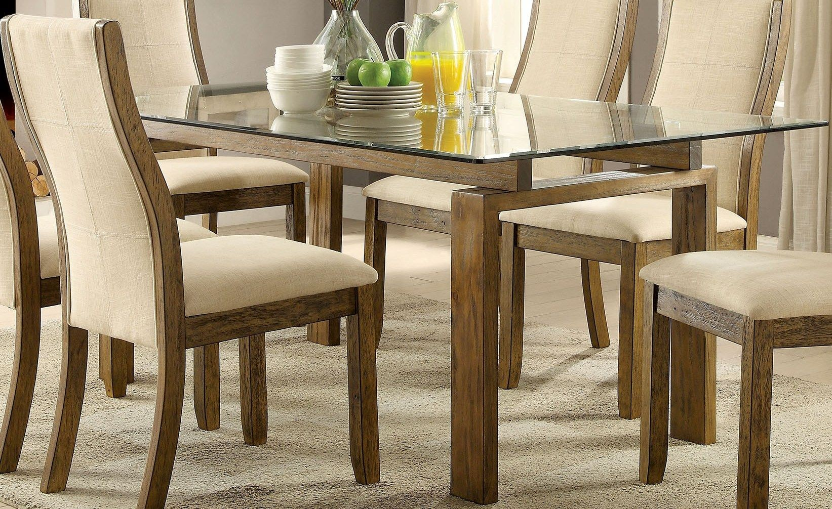 Best Oak Dining Side Chairs ~ Onway oak rectangular glass top dining room set from