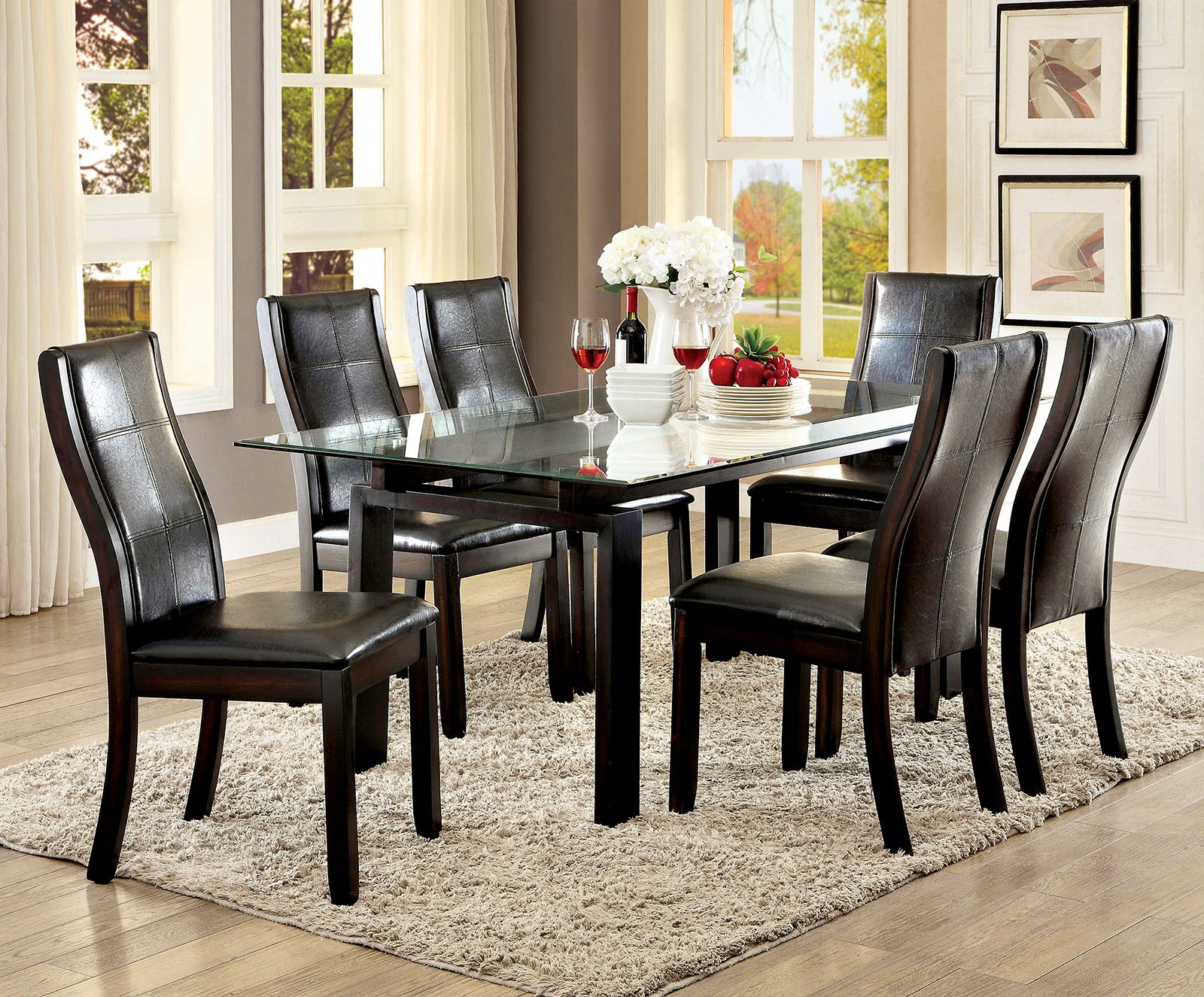 Phyllis Dark Walnut Rectangular Glass Top Dining Room Set ...