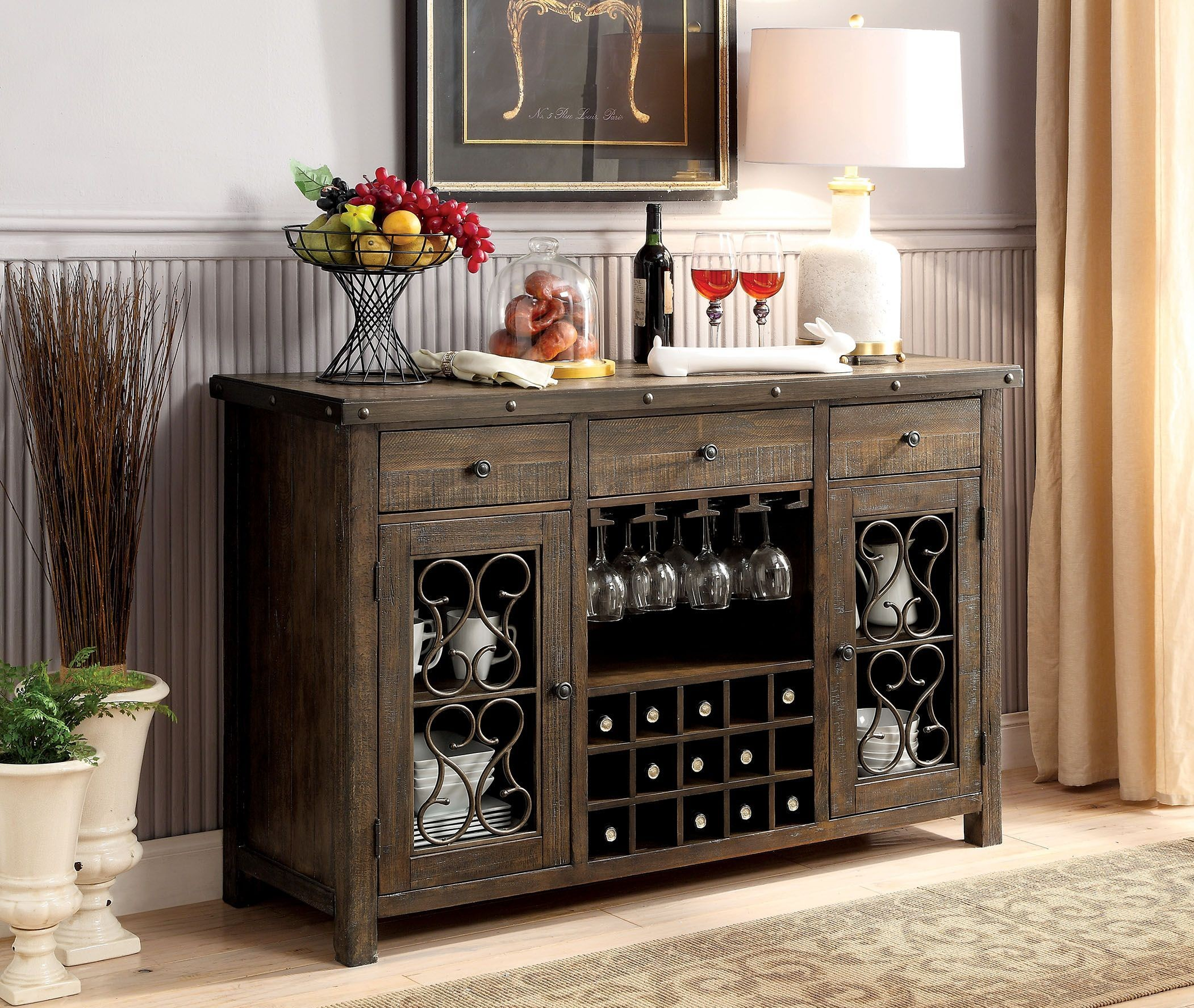 Paulina Rustic Walnut Server From Furniture Of America