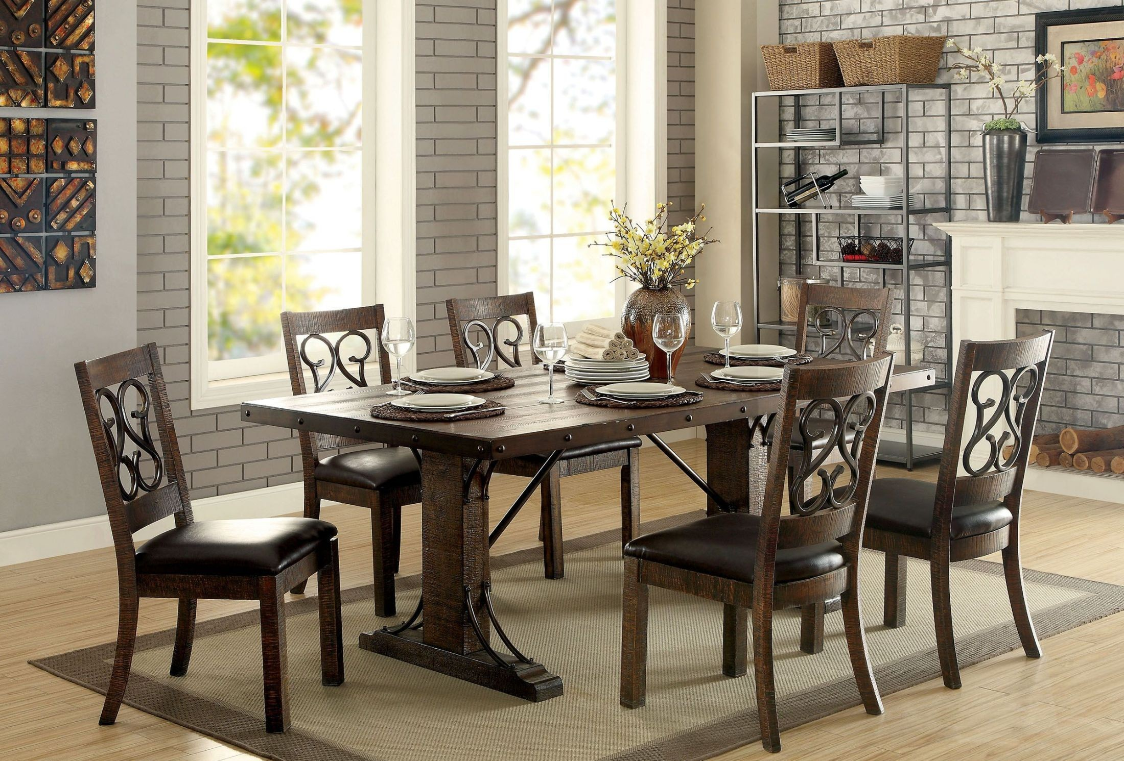 paulina rustic walnut rectangular dining room set from furniture of america coleman furniture. Black Bedroom Furniture Sets. Home Design Ideas