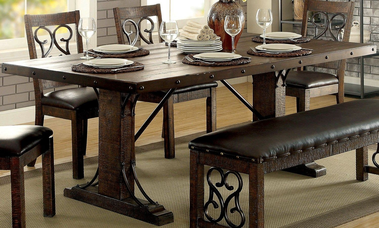 Paulina Rustic Walnut Rectangular Dining Table From