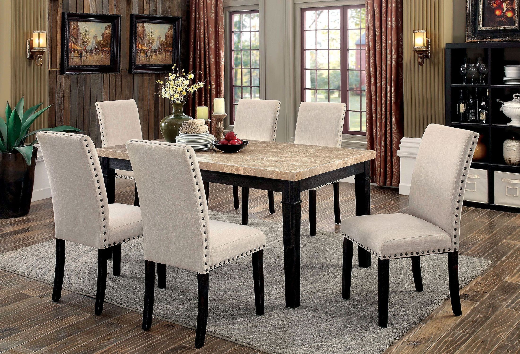 Dodson i black rectangular leg dining room set from for Black front room furniture
