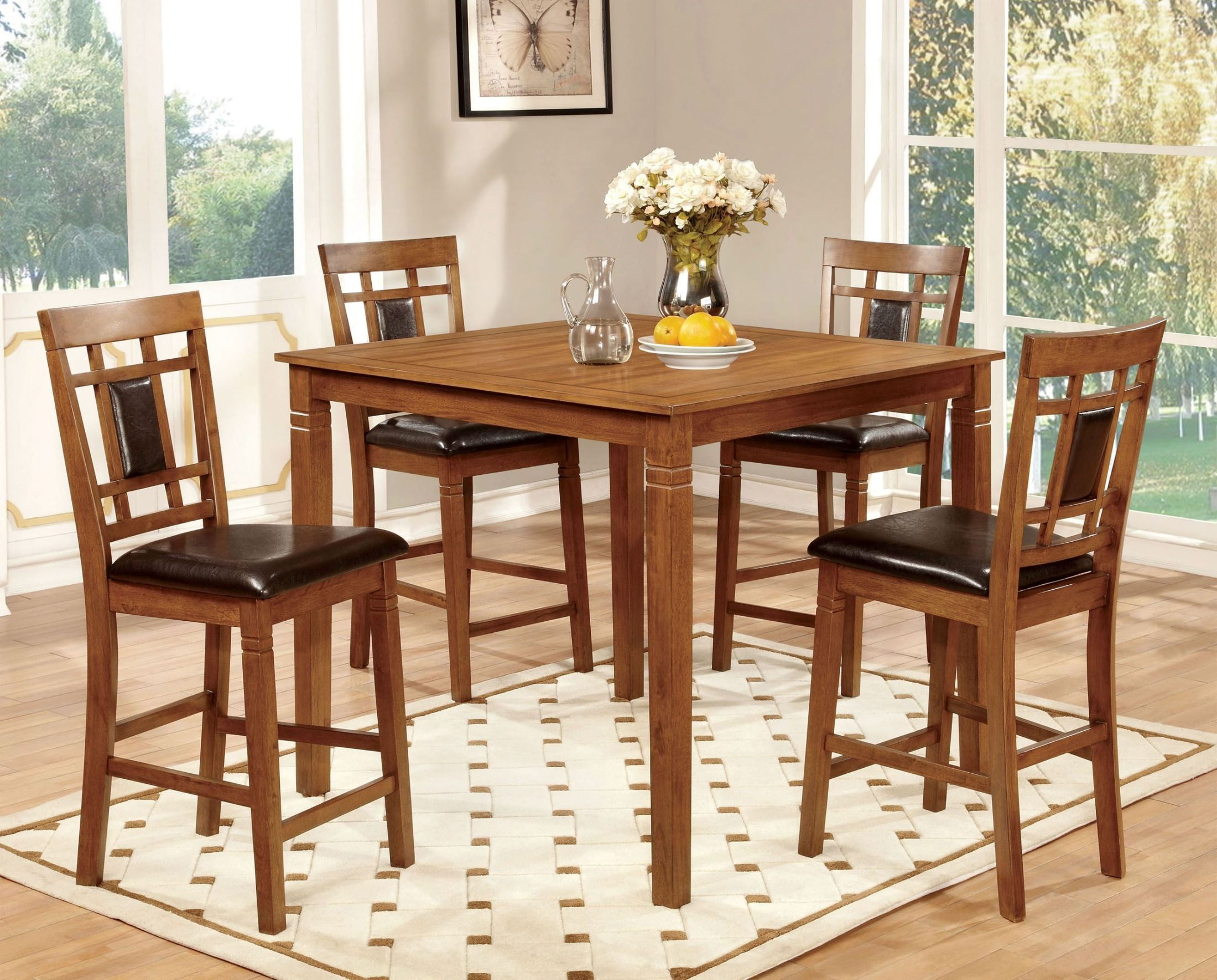 Dining Table Light Height: Freeman II Light Oak 5 Piece Counter Height Table Set From
