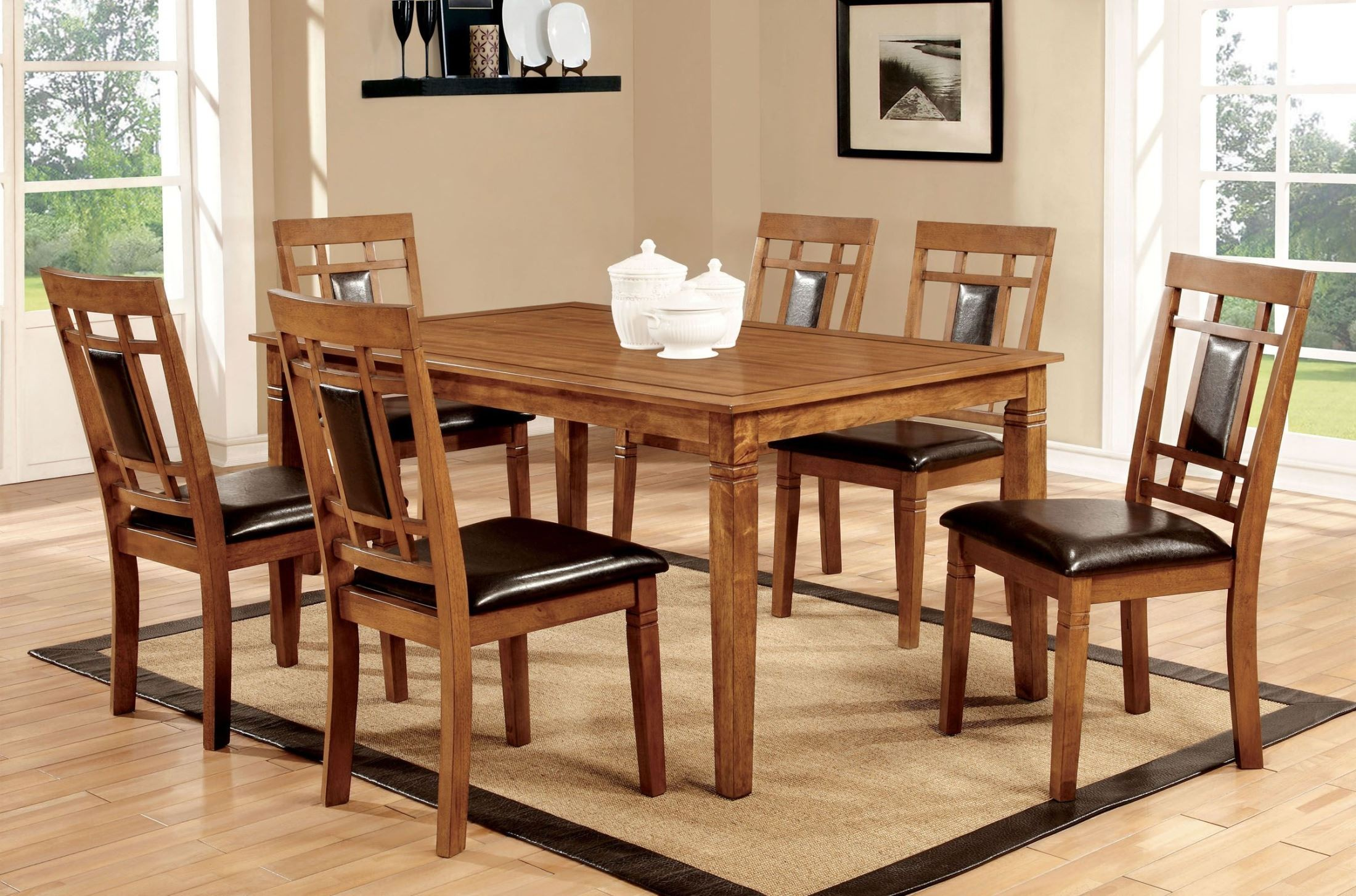 Freeman i light oak 7 piece dining room set from furniture for Furniture of america