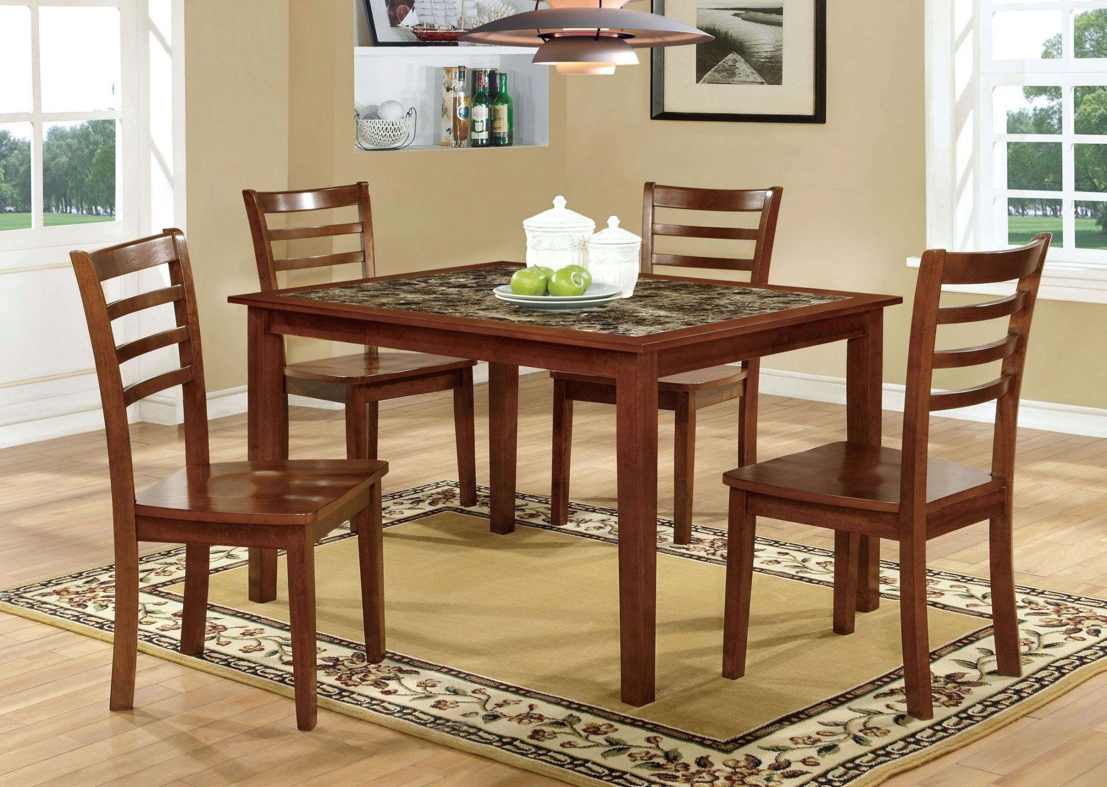 Fordville i antique oak 5 piece dining table set from for Dining at at t center