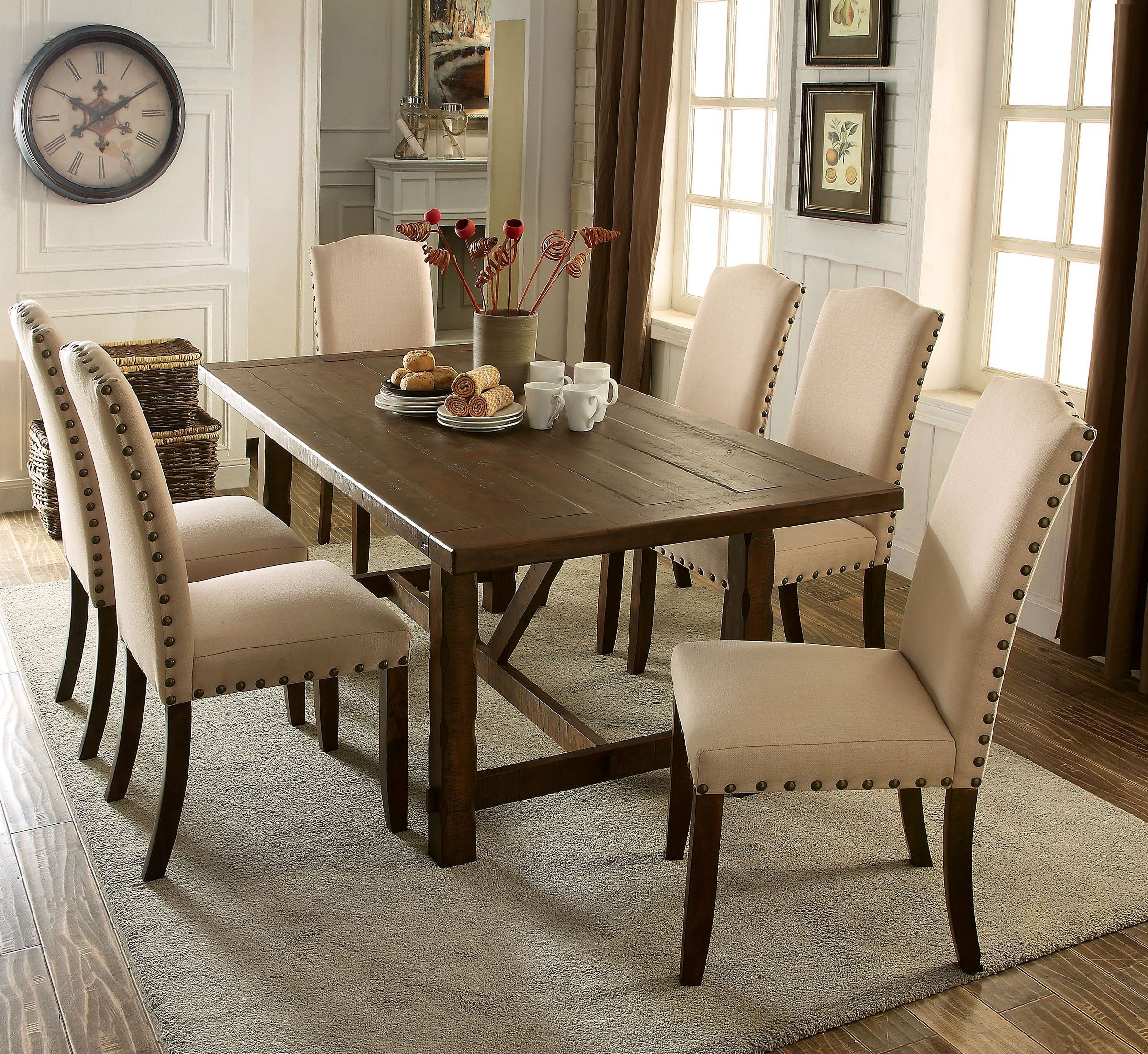 Rustic Dining Room Table Sets: Brentford Rustic Walnut Rectangular Dining Room Set From