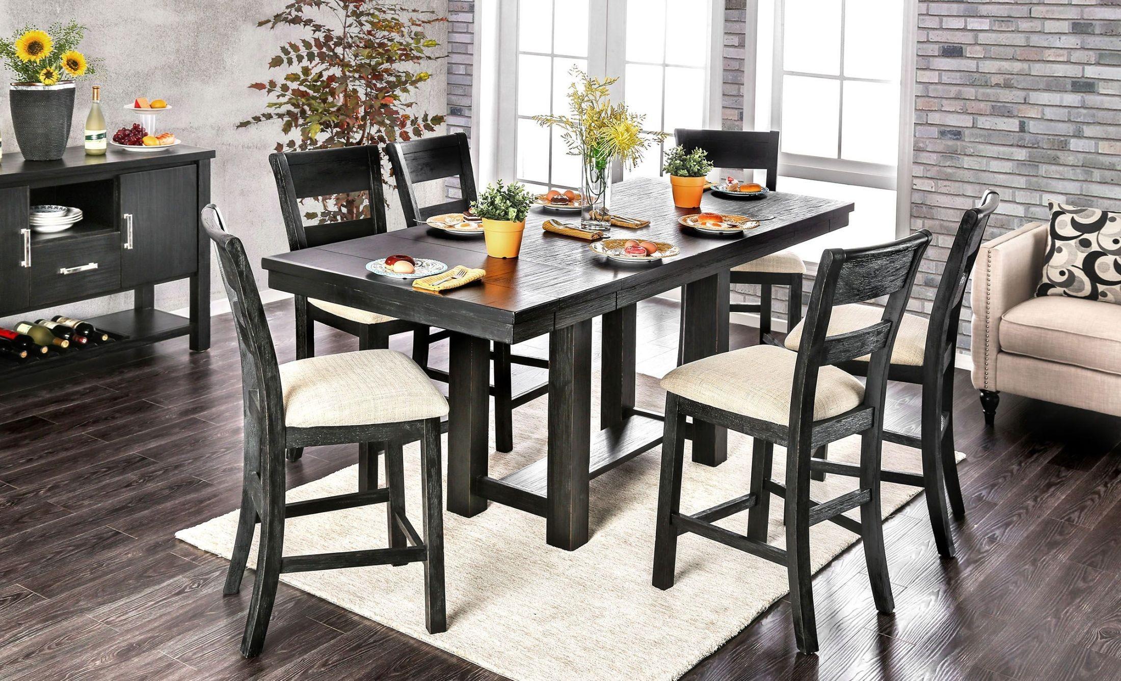 thomaston brushed black counter height dining room set cm3543pt table furniture of america. Black Bedroom Furniture Sets. Home Design Ideas
