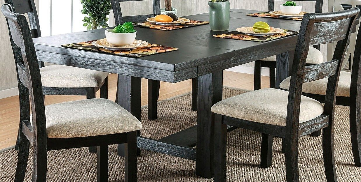 thomaston i brushed black extendable rectangular dining table from furniture of america. Black Bedroom Furniture Sets. Home Design Ideas