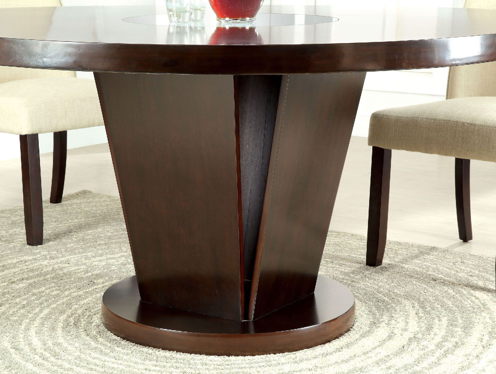 Cimma espresso round dining table from furniture of for Espresso dining table