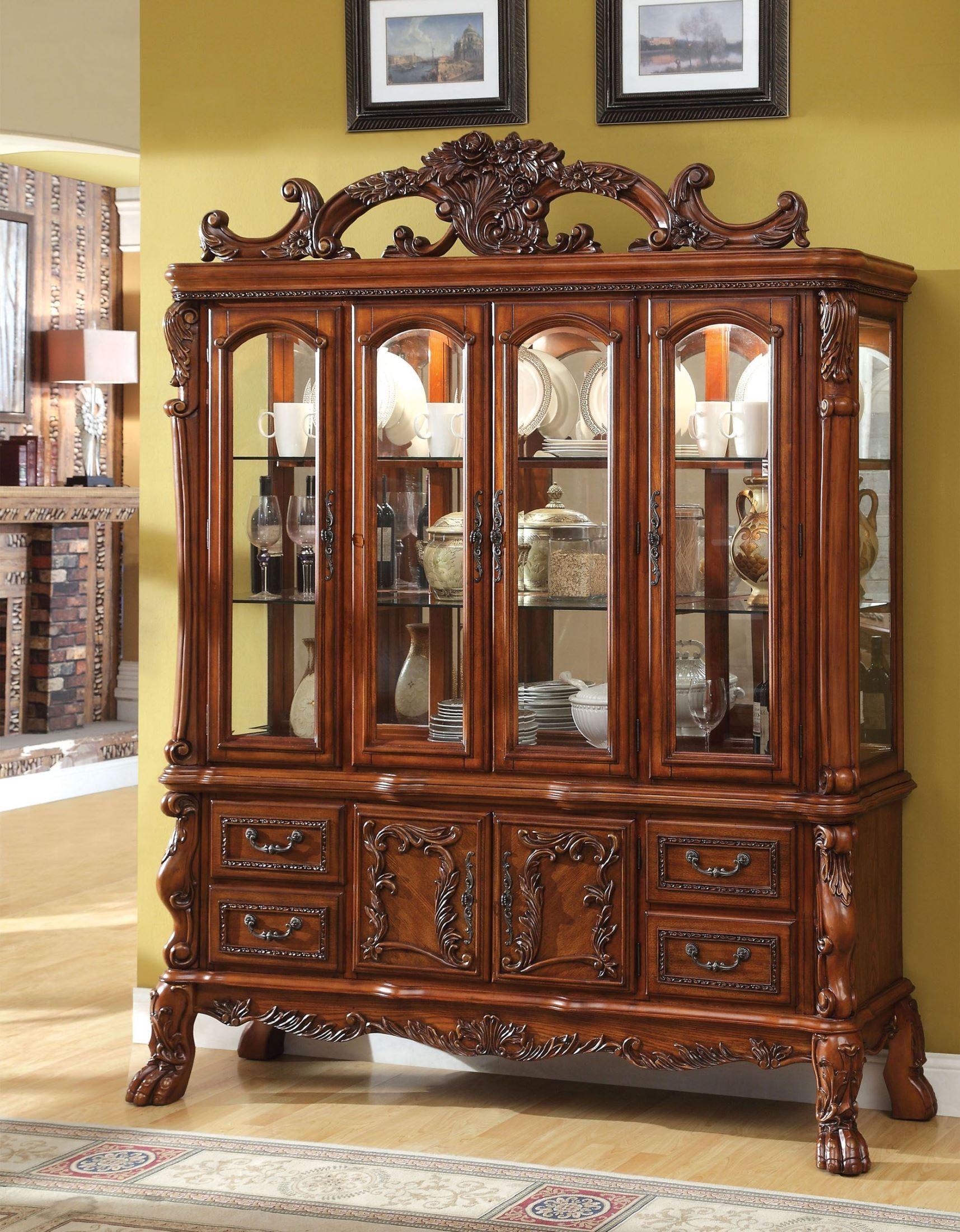 Medieve antique oak hutch buffet from furniture of america