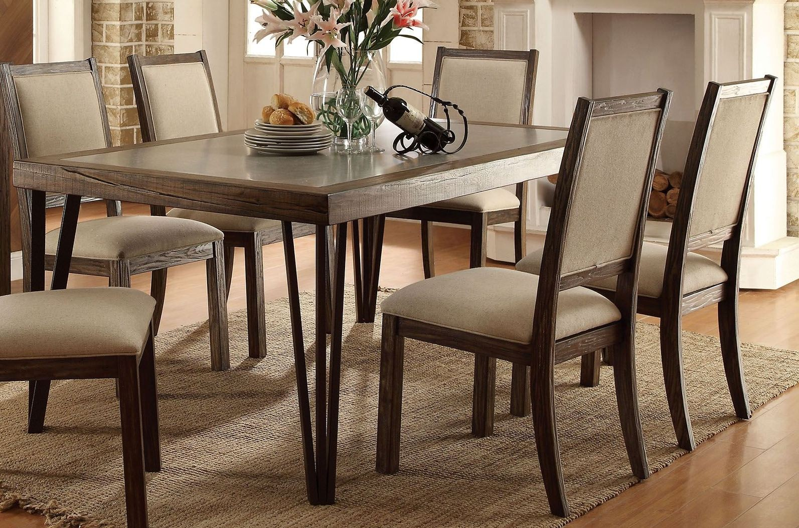 Caithe rustic oak rectangular dining table from furniture of america coleman furniture - Rectangular dining table for 6 ...