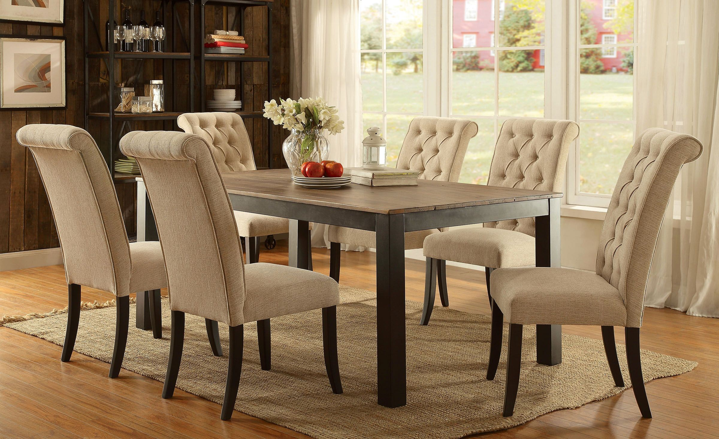 Marshall rustic oak rectangular dining room set from for Rustic dining room sets