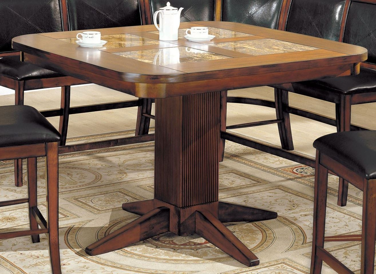 Square marble inserts counter height table from furniture for Square counter height table