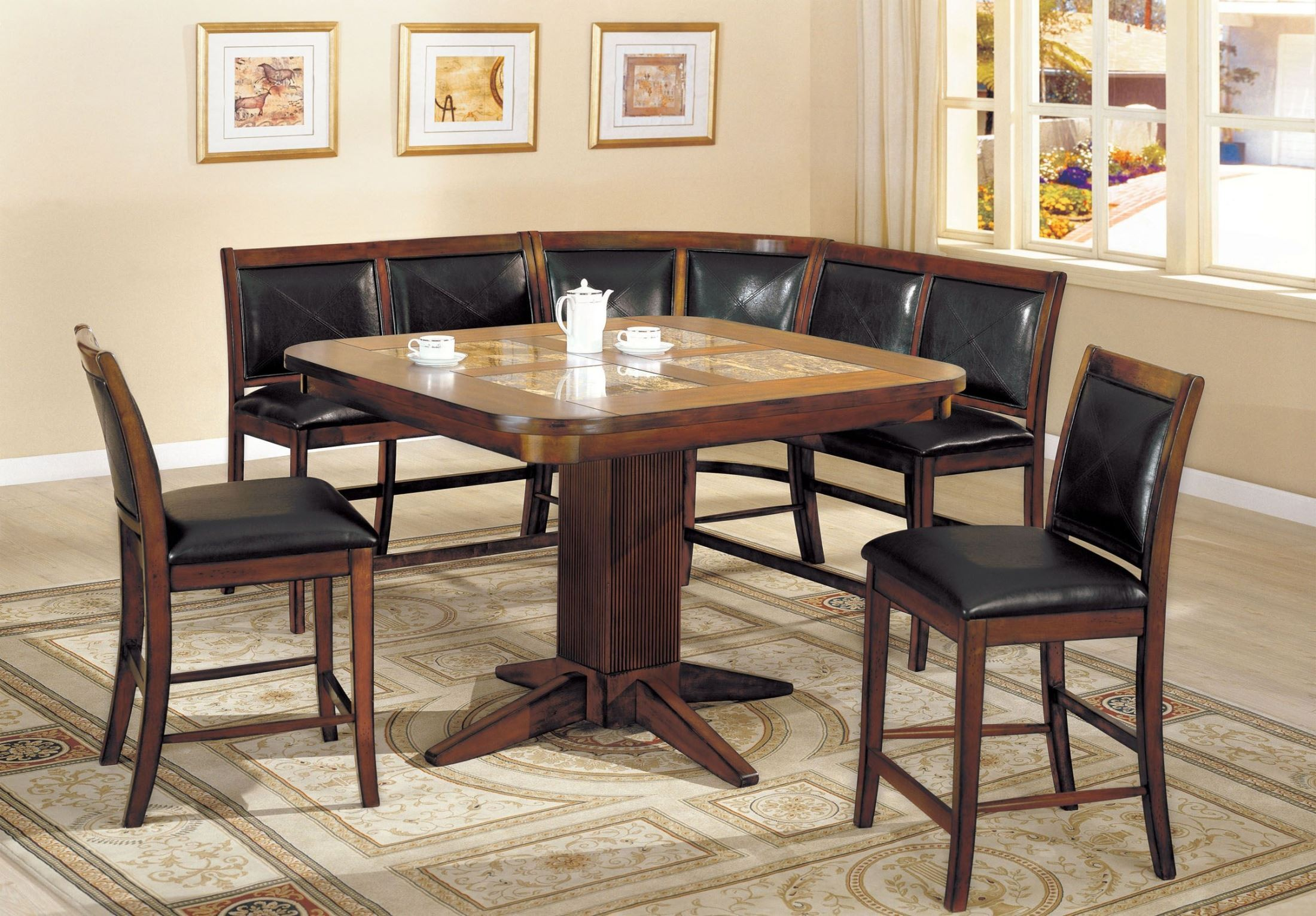 Square Marble Inserts Counter Height Dining Room Set From