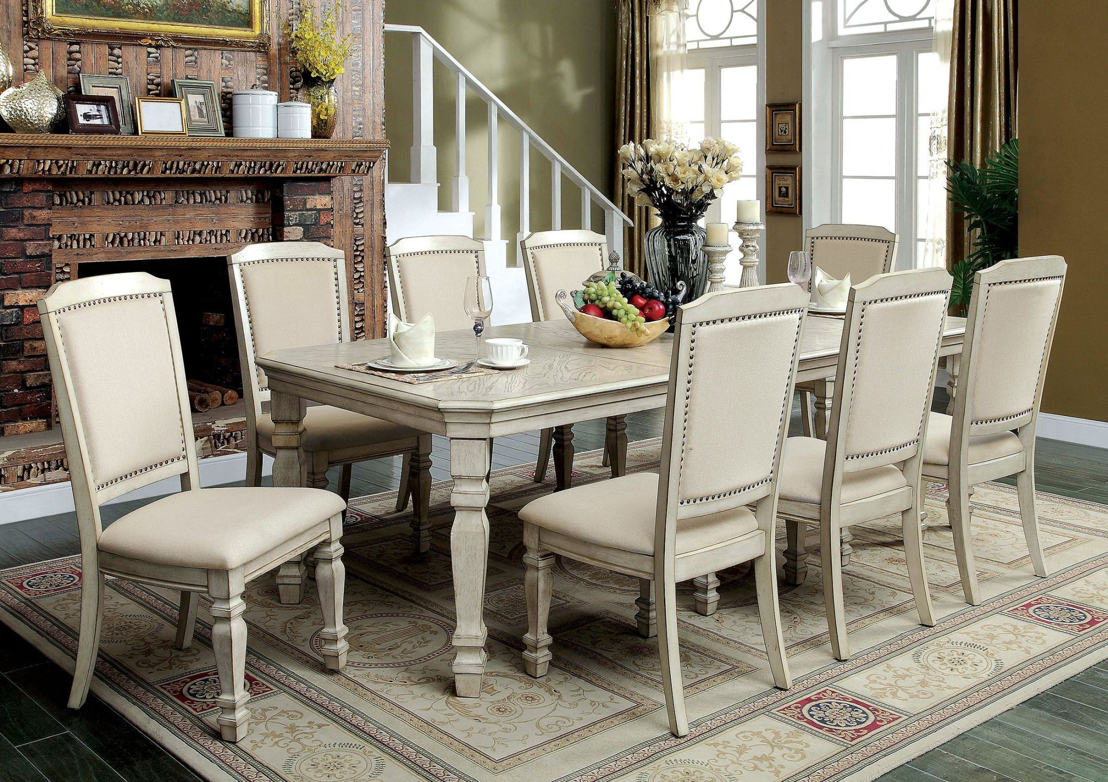 Holcroft antique white extendable rectangular leg dining for Furniture of america furniture