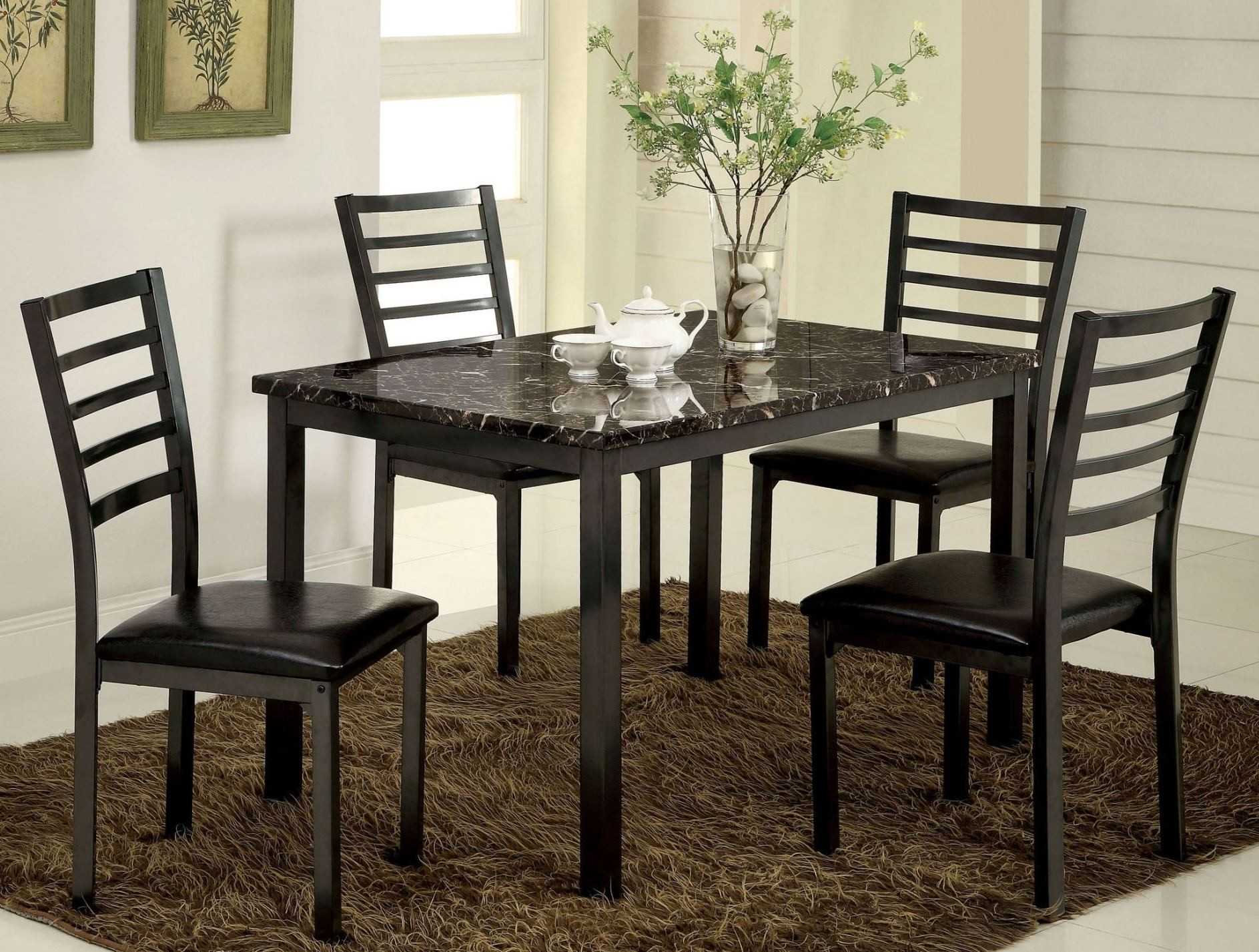Colman 48 Quot Faux Marble Top Rectangular Leg Dining Room Set