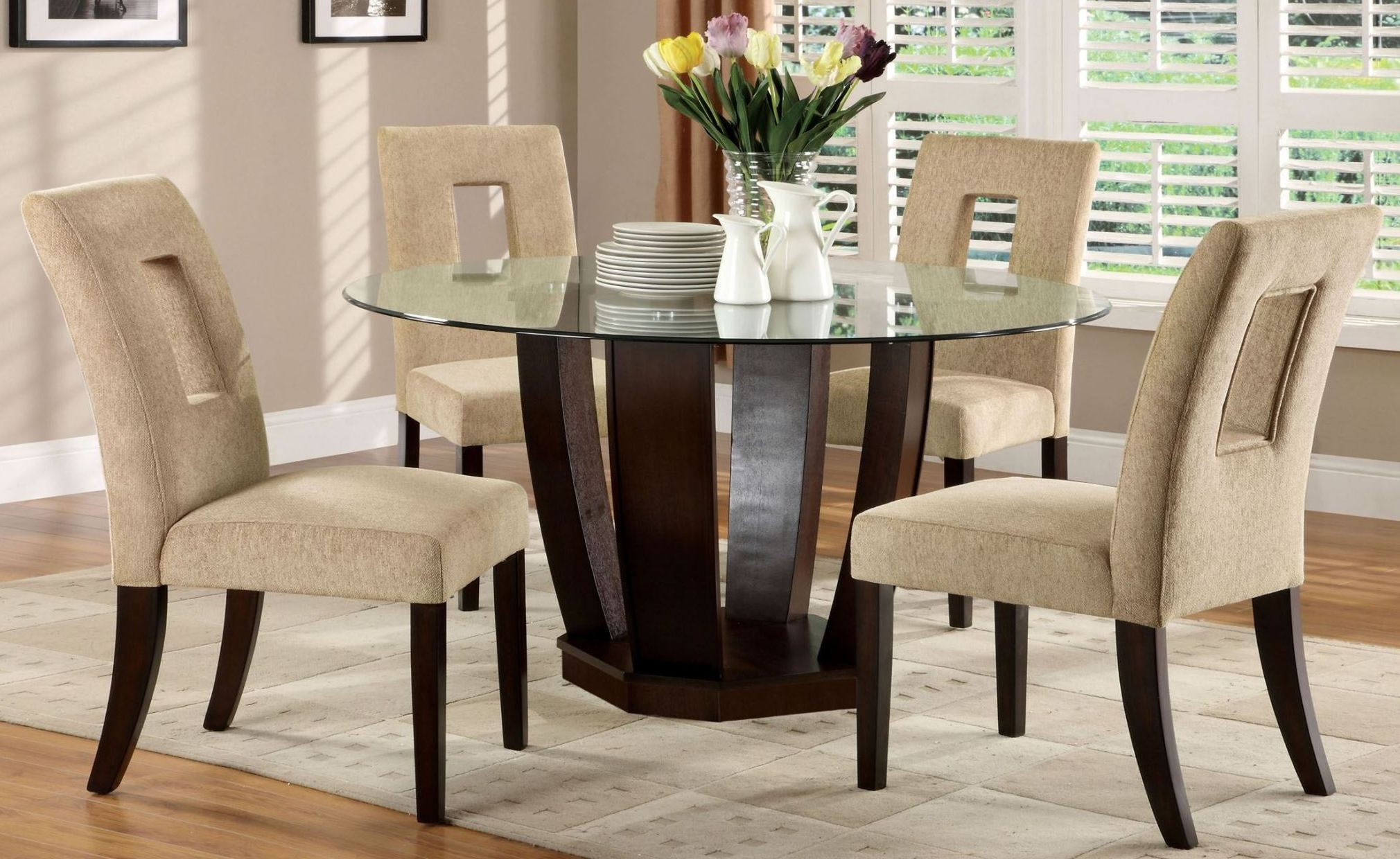glass dining room furniture | West Palm I Espresso Glass Top Round Pedestal Dining Room ...