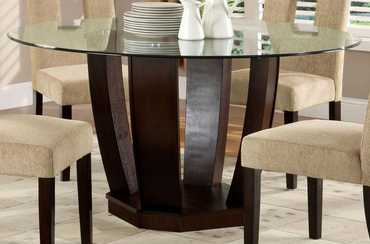 west palm i espresso glass top round pedestal dining table from furniture of america cm3625t. Black Bedroom Furniture Sets. Home Design Ideas