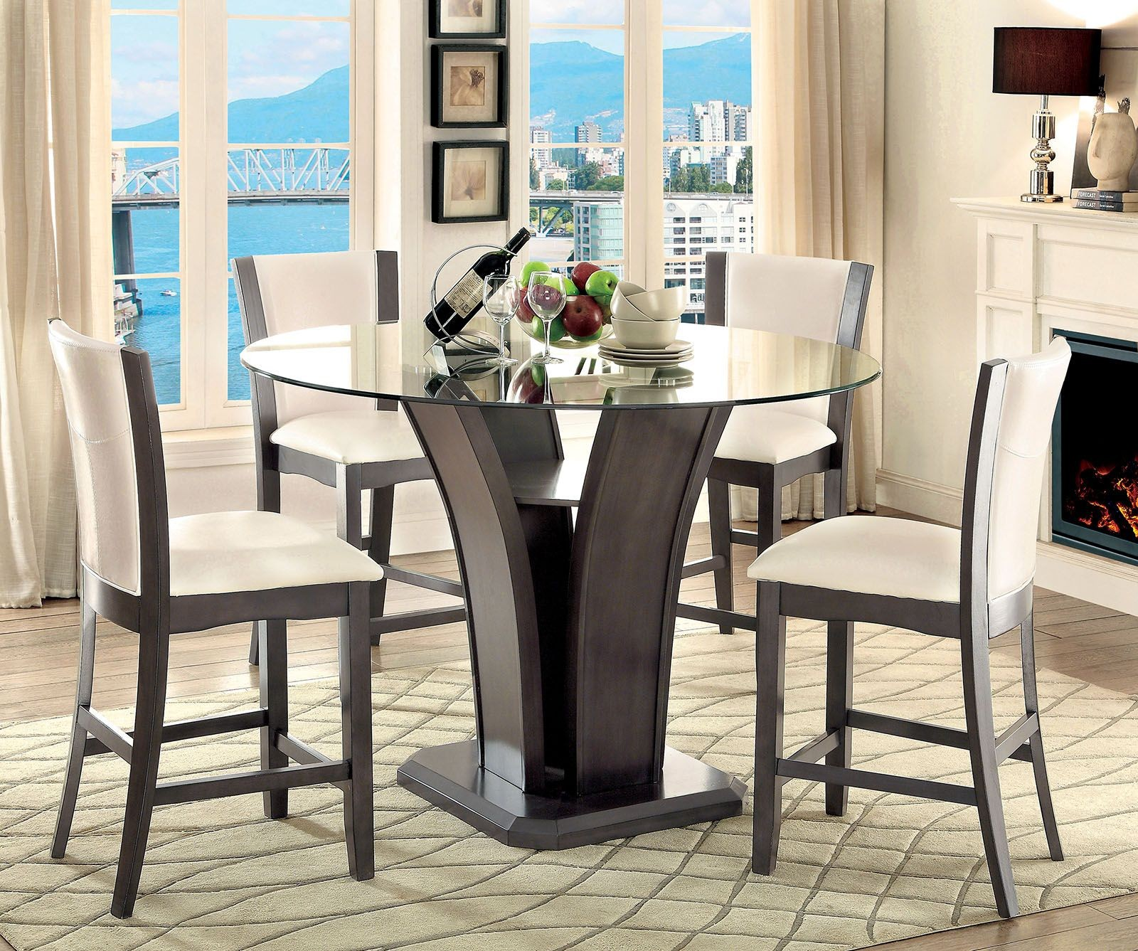 Counter Dining Room Sets: Manhattan III Gray Round Counter Height Dining Room Set