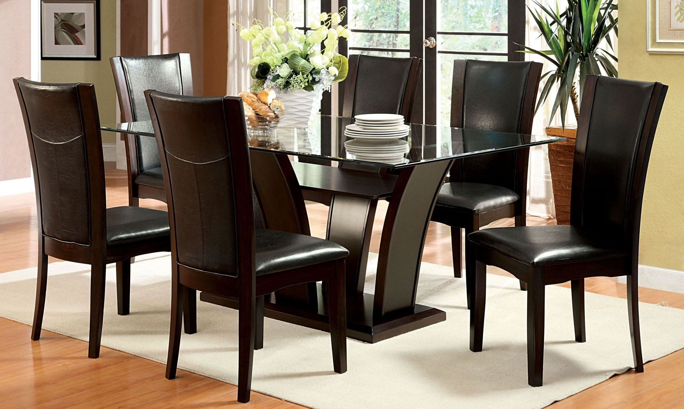 Manhattan i dark cherry pedestal dining room set from for Cherry dining room set
