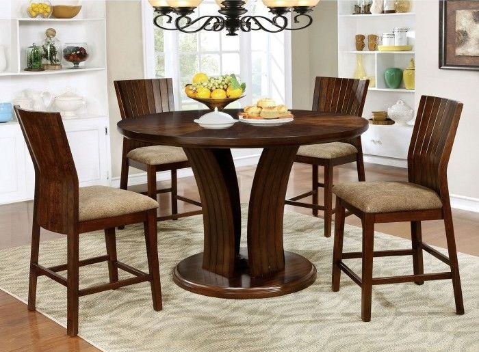 Montreal II Dark Oak Counter Height Round Dining Room Set From Furniture Of  America | Coleman Furniture